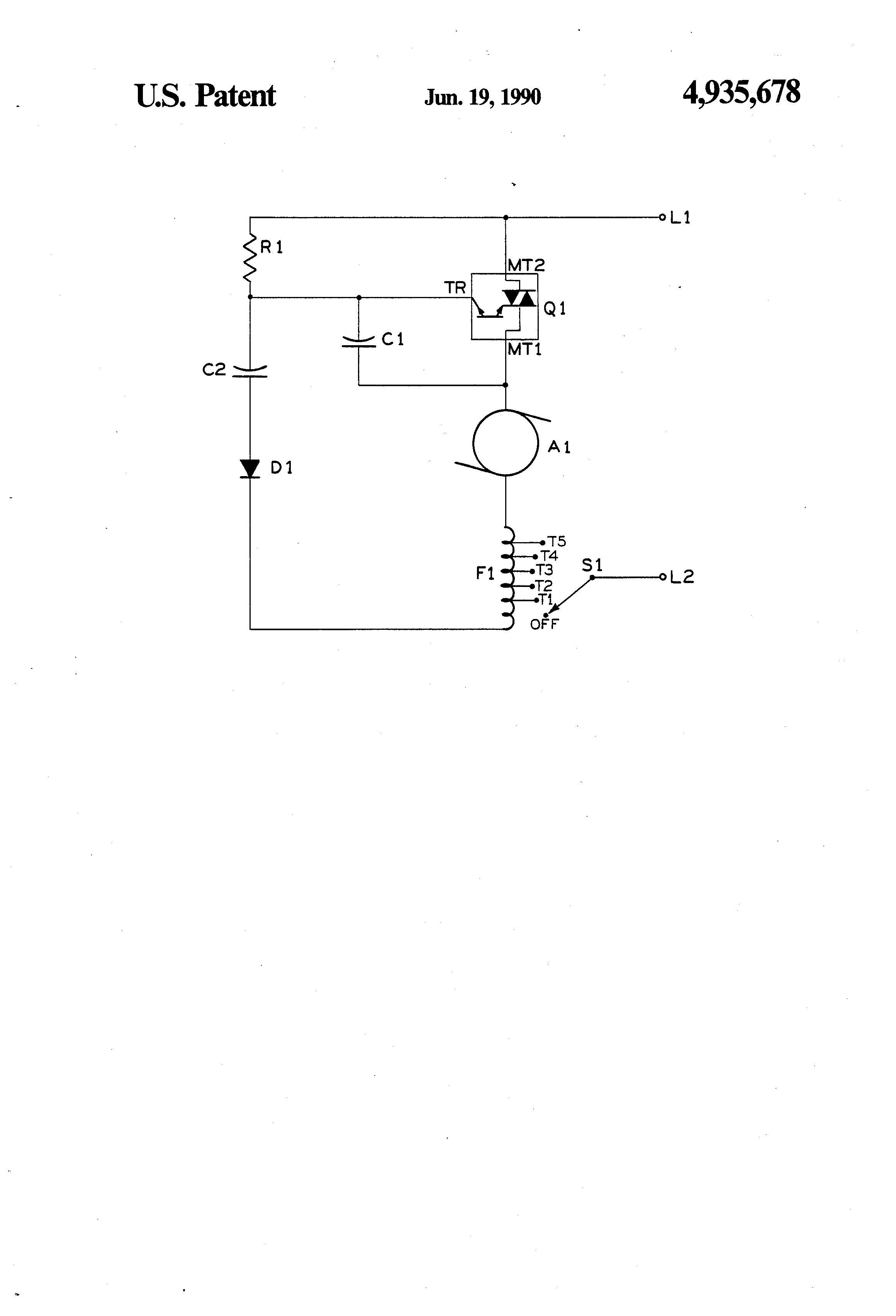 US4935678 1 patent us4935678 universal motor speed control circuit for hand universal motor wiring diagram at mifinder.co