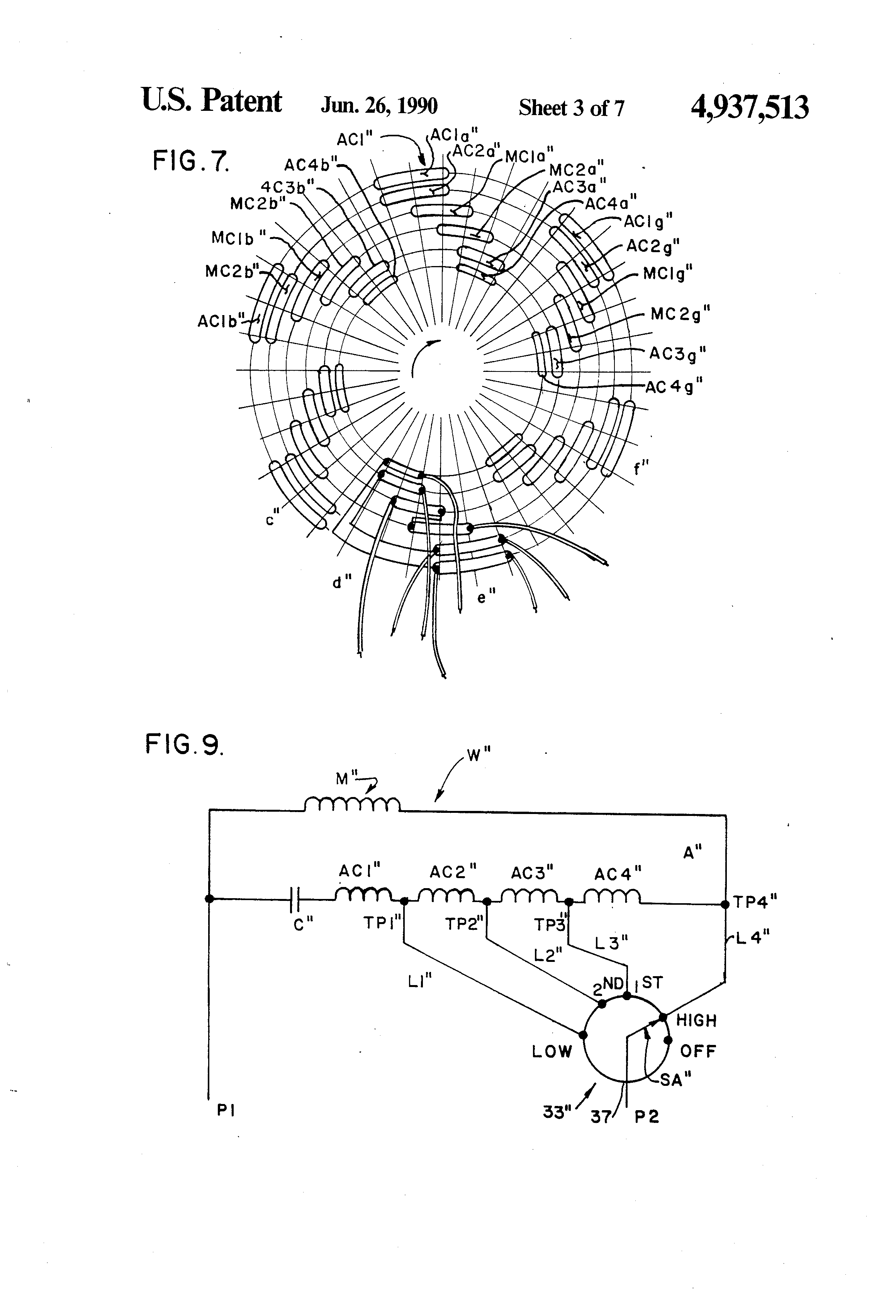 US4937513 3 patent us4937513 tapped auxiliary winding for multi speed pedestal fan motor wiring diagram at fashall.co