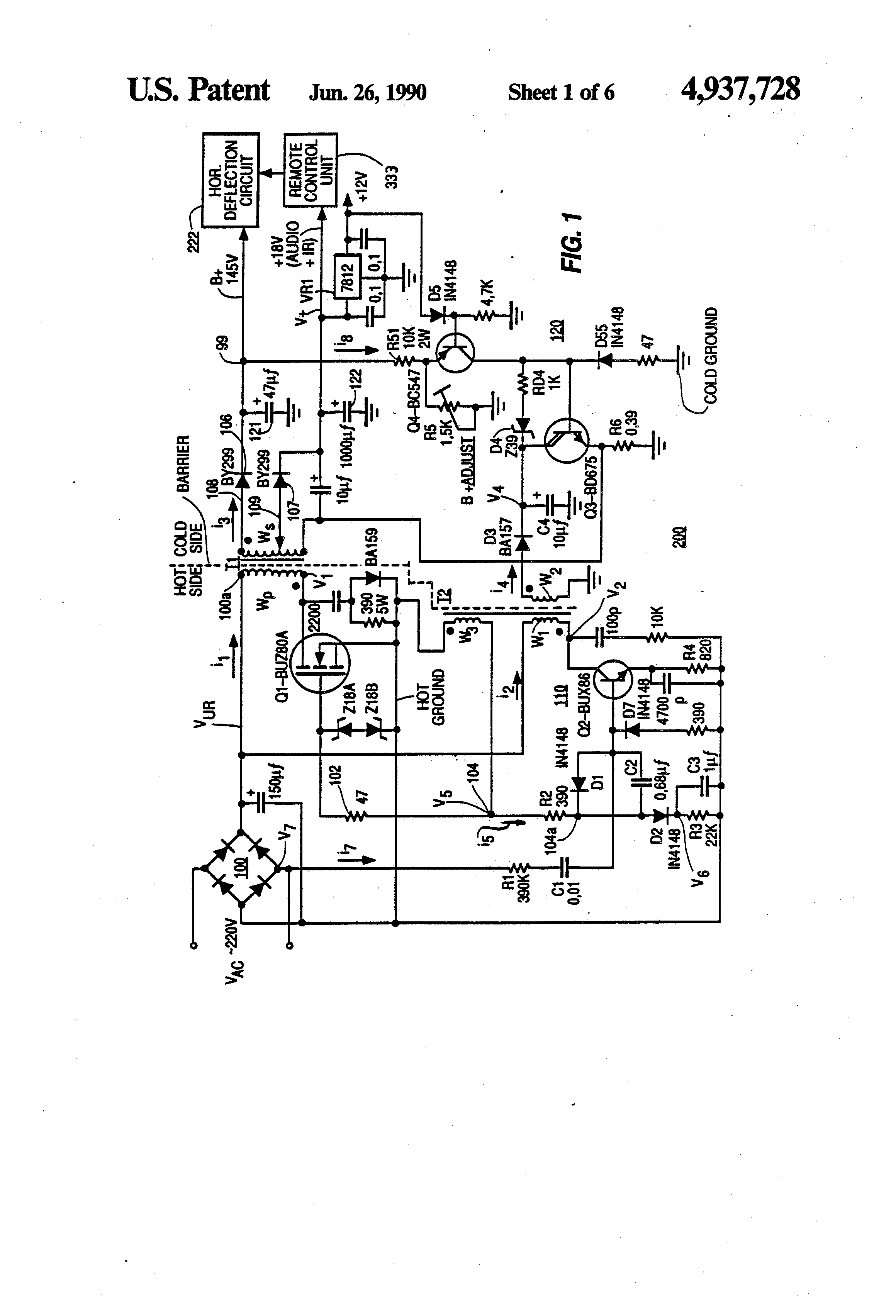 patent us4937728 - switch-mode power supply with burst mode standby operation