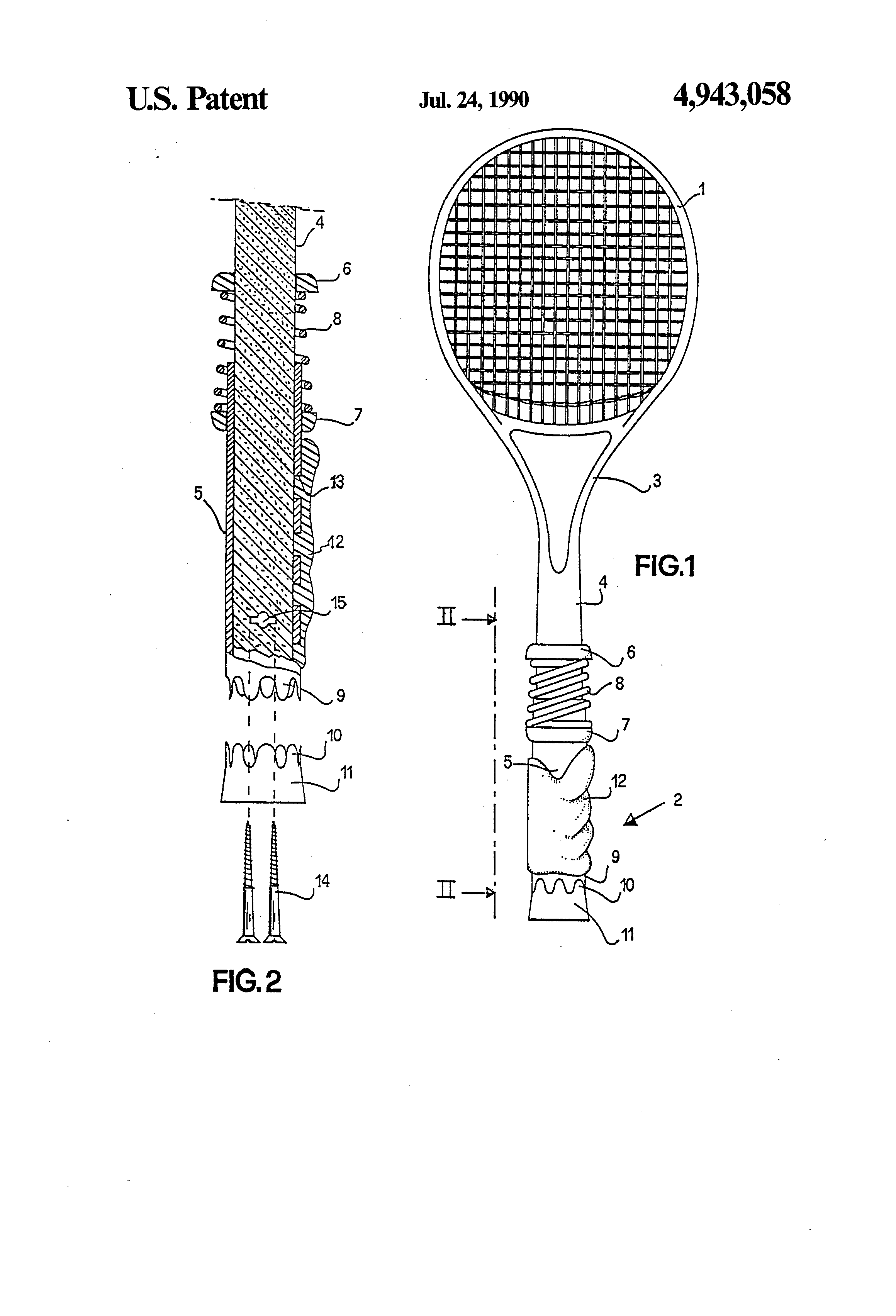 Patent Us4943058 Tennis Racket With Fixed Grip And Movable Frame Diagram How To A Drawing