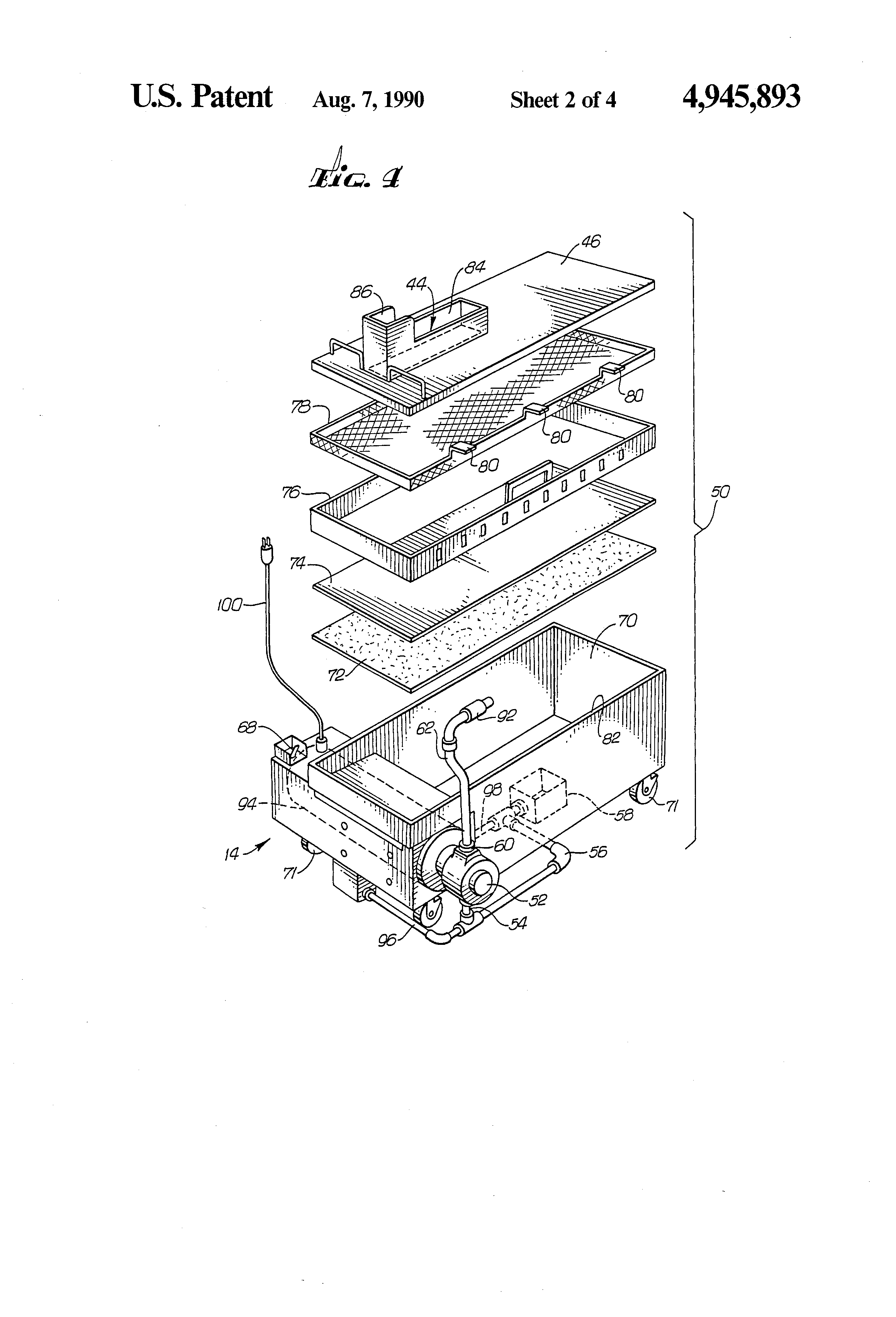 patent us4945893 fryer filtration system google patents patent drawing