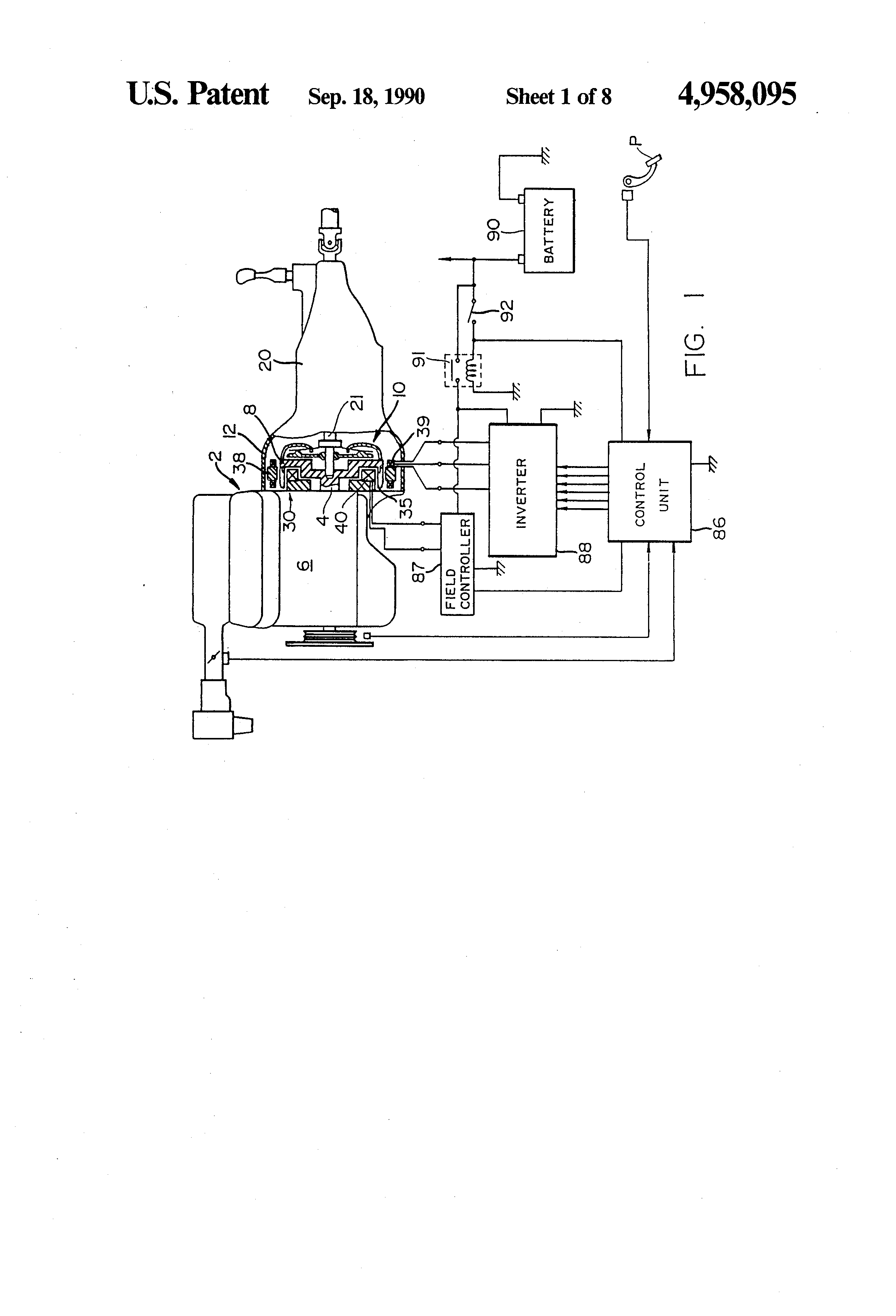 Patent Us4958095 Starter Alternator For A Vehicle Engine Google Valeo Generator Wiring Diagram Drawing