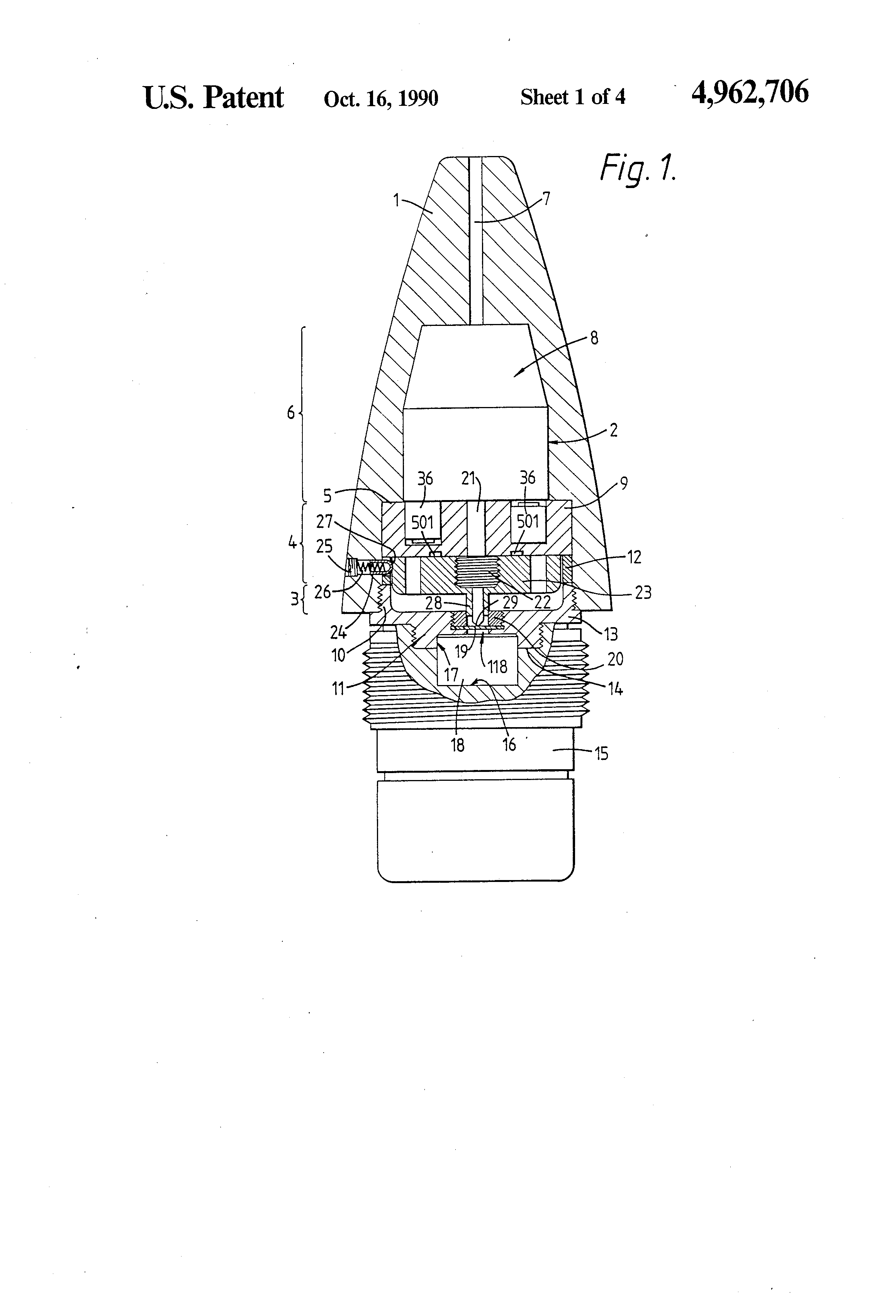 patent us4962706 - fuze for artillery shell