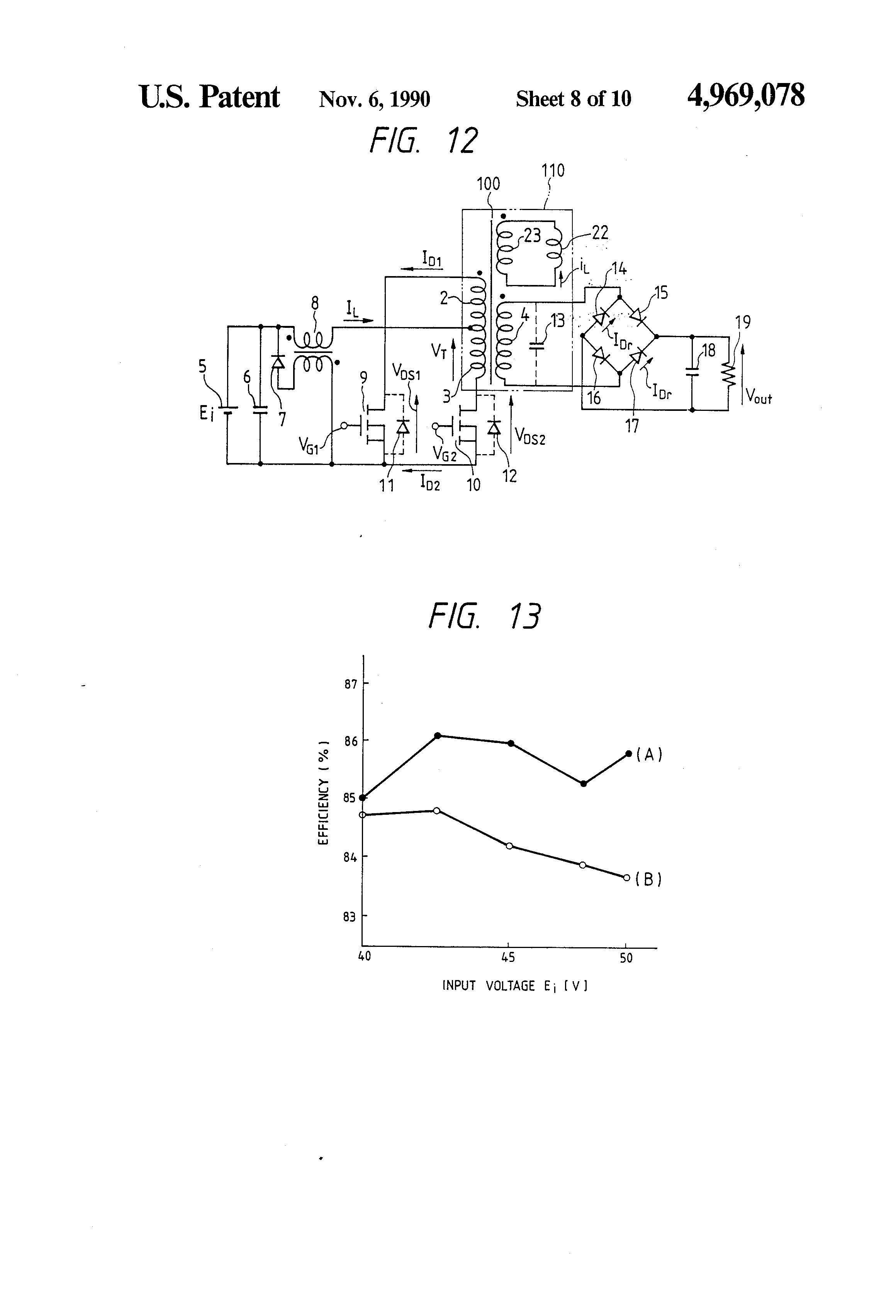 patent us4969078 - push-pull current-fed dc-dc converter