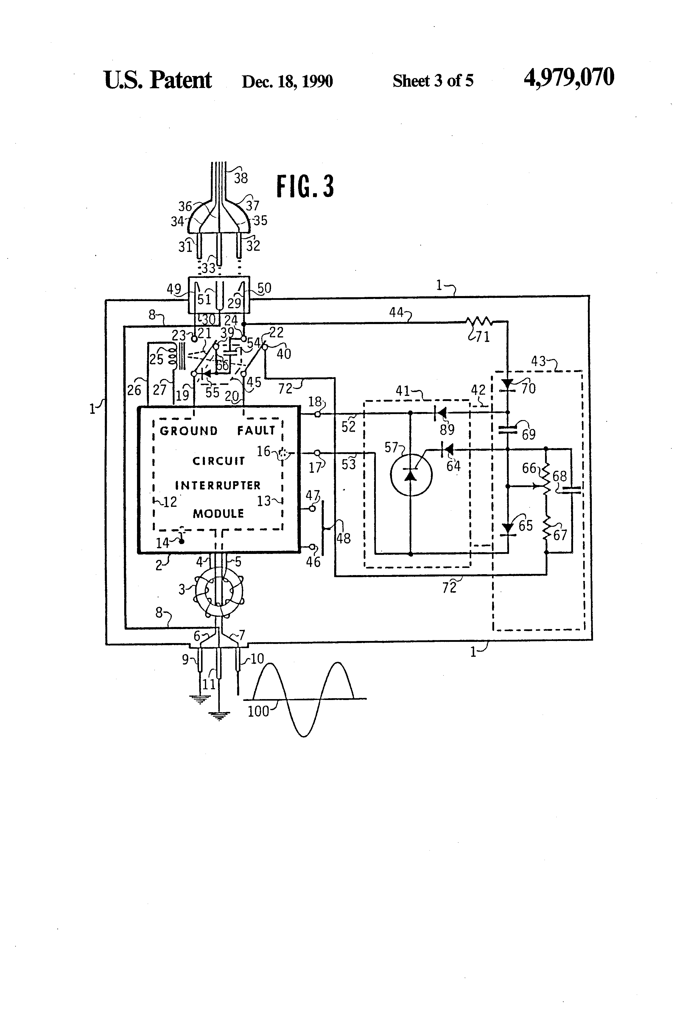 patent us4979070 - automatic reset circuit for gfci