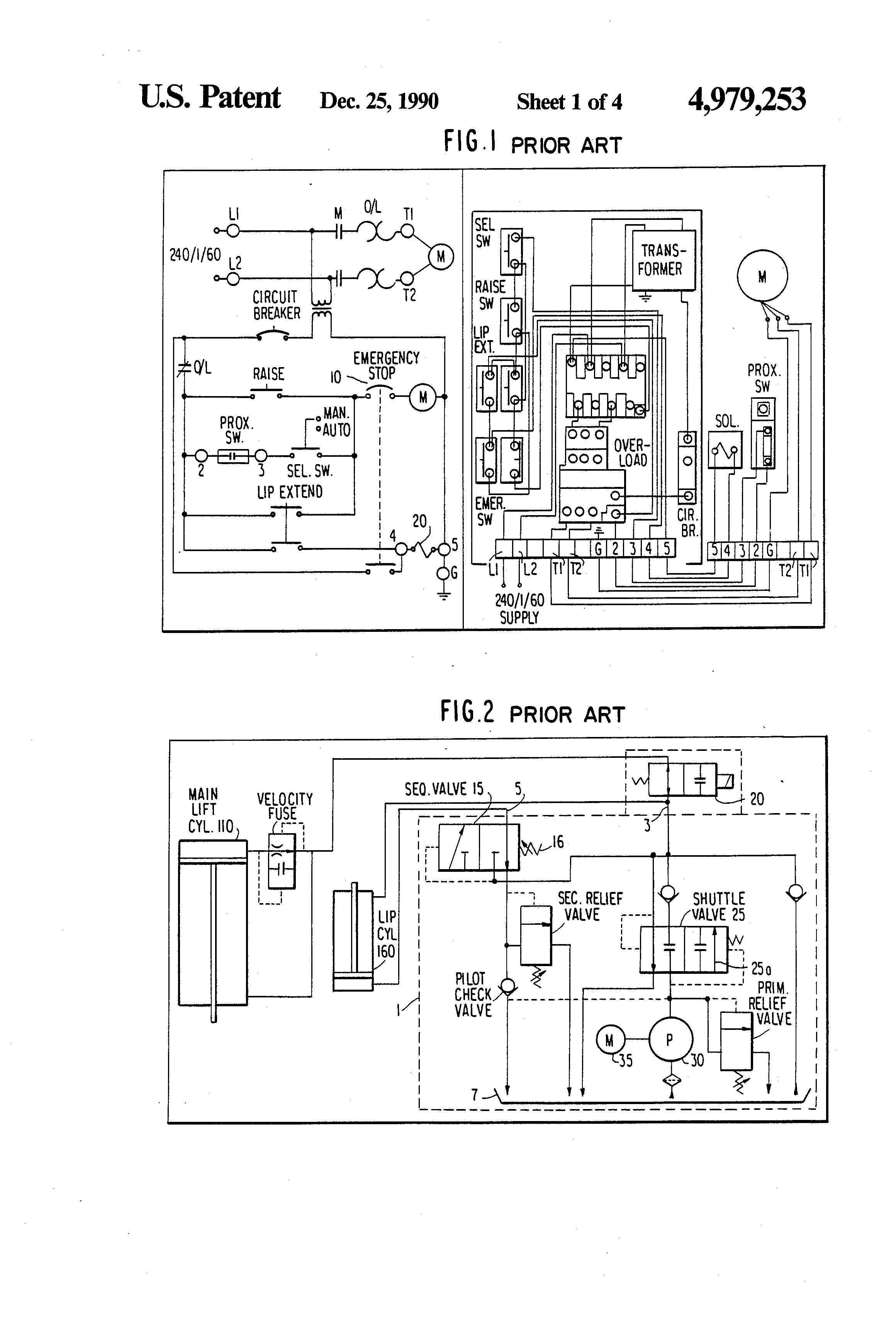 patent us hydraulic circuit for control of lip of patent drawing