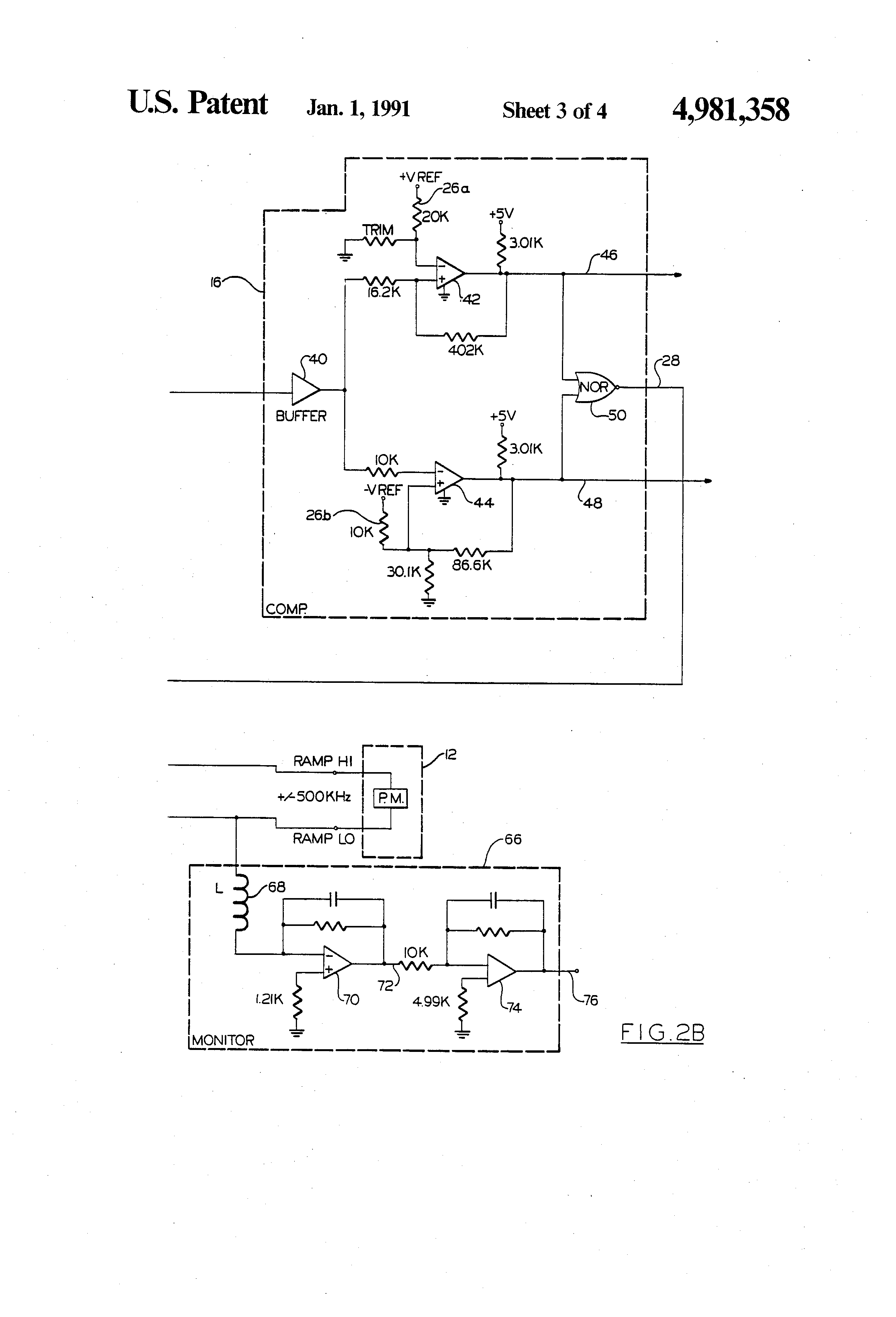 Brevet Us4981358 Measuring The Relative Effective Lengths Sawtooth Wave Generator Circuit Using Ujt Patent Drawing