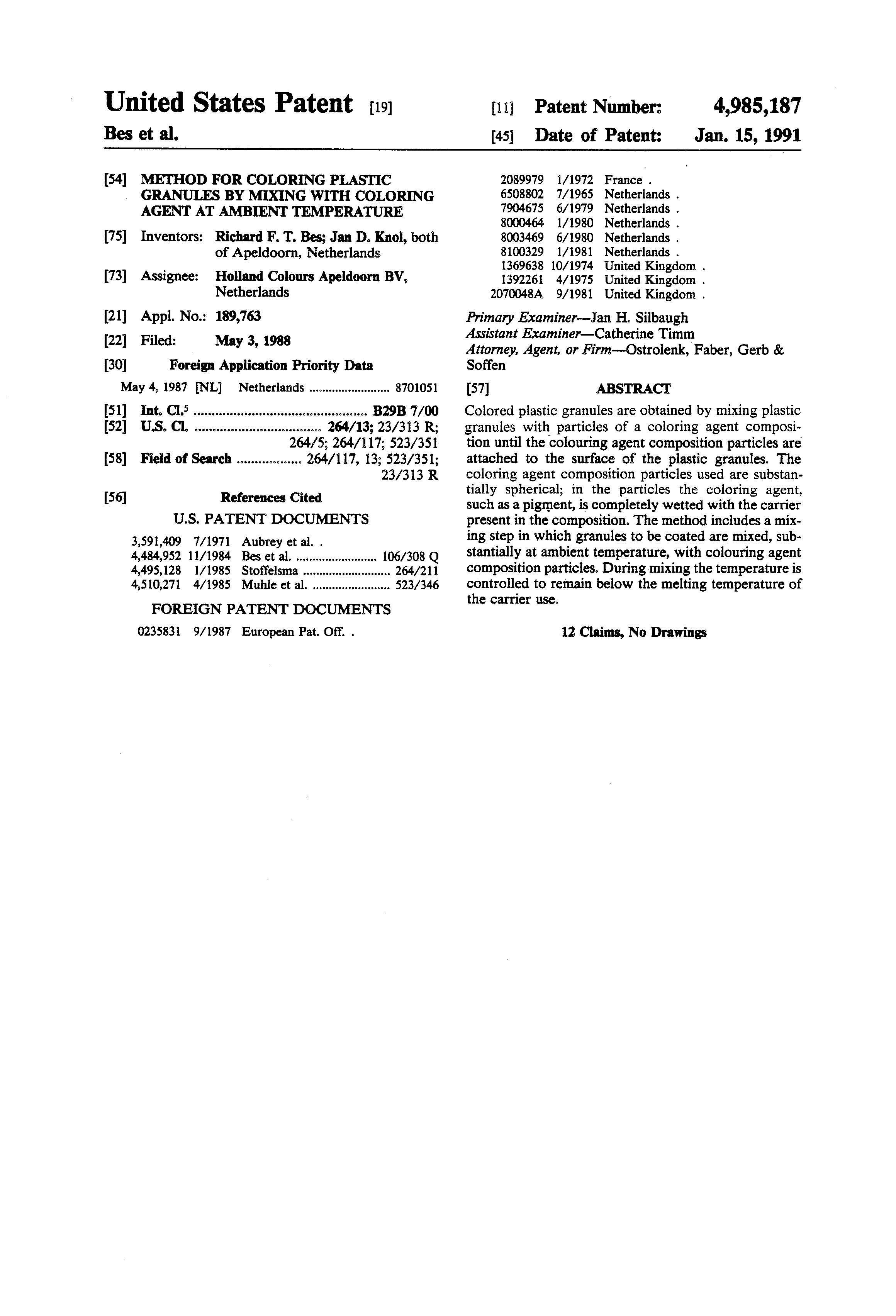 patent us4985187 method for coloring plastic granules by mixing
