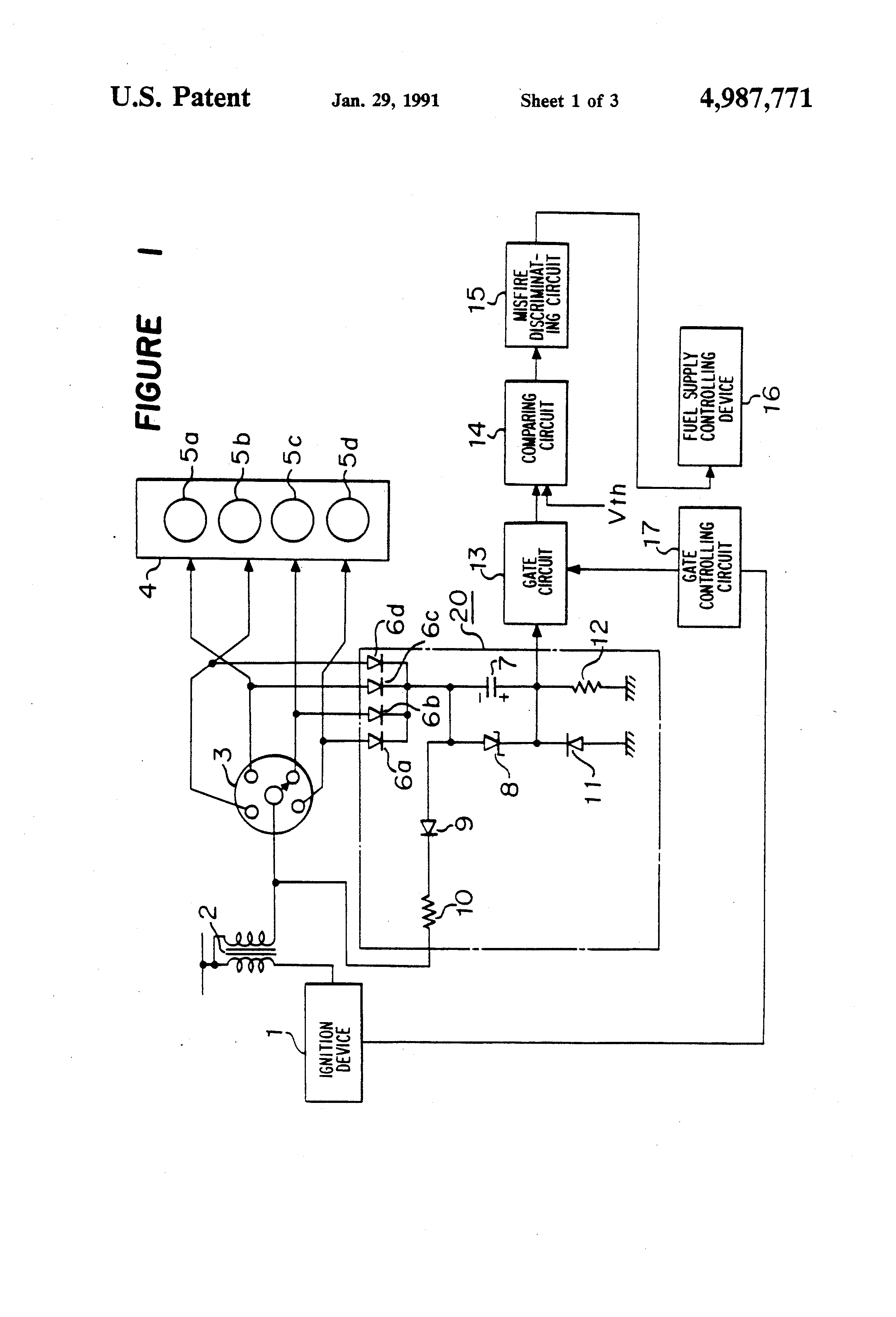 Patent Us4987771 Misfire Detection Device For An Internal Combustion Engine Block Diagram Drawing