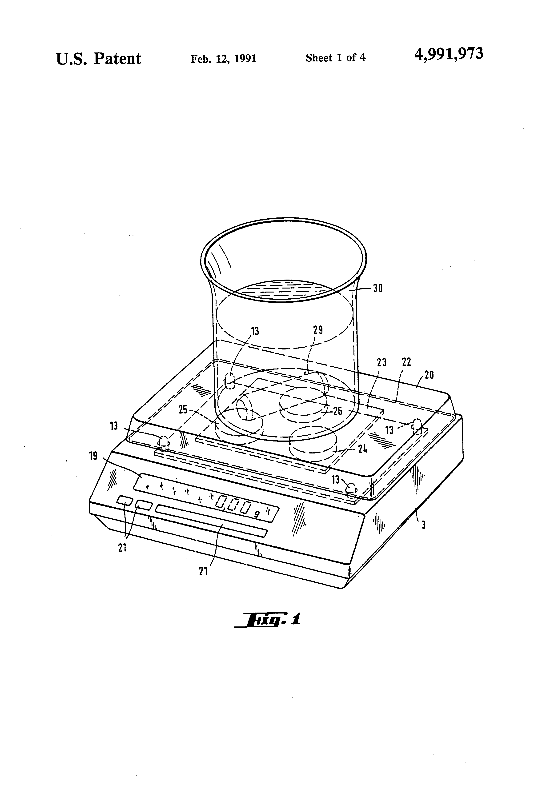 patent us4991973 - electronic balance with scale on top