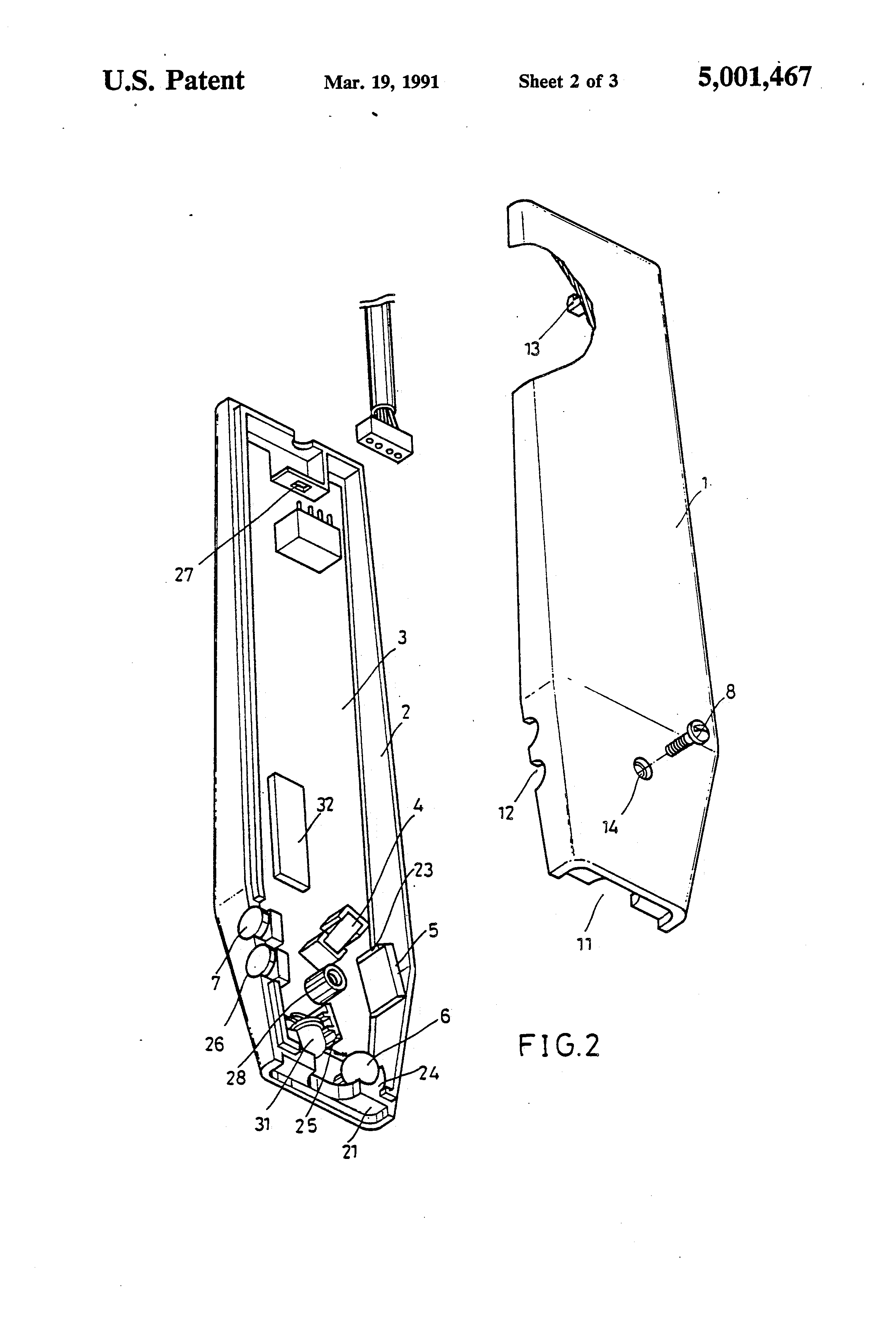patent us5001467 - structure of optical mouse