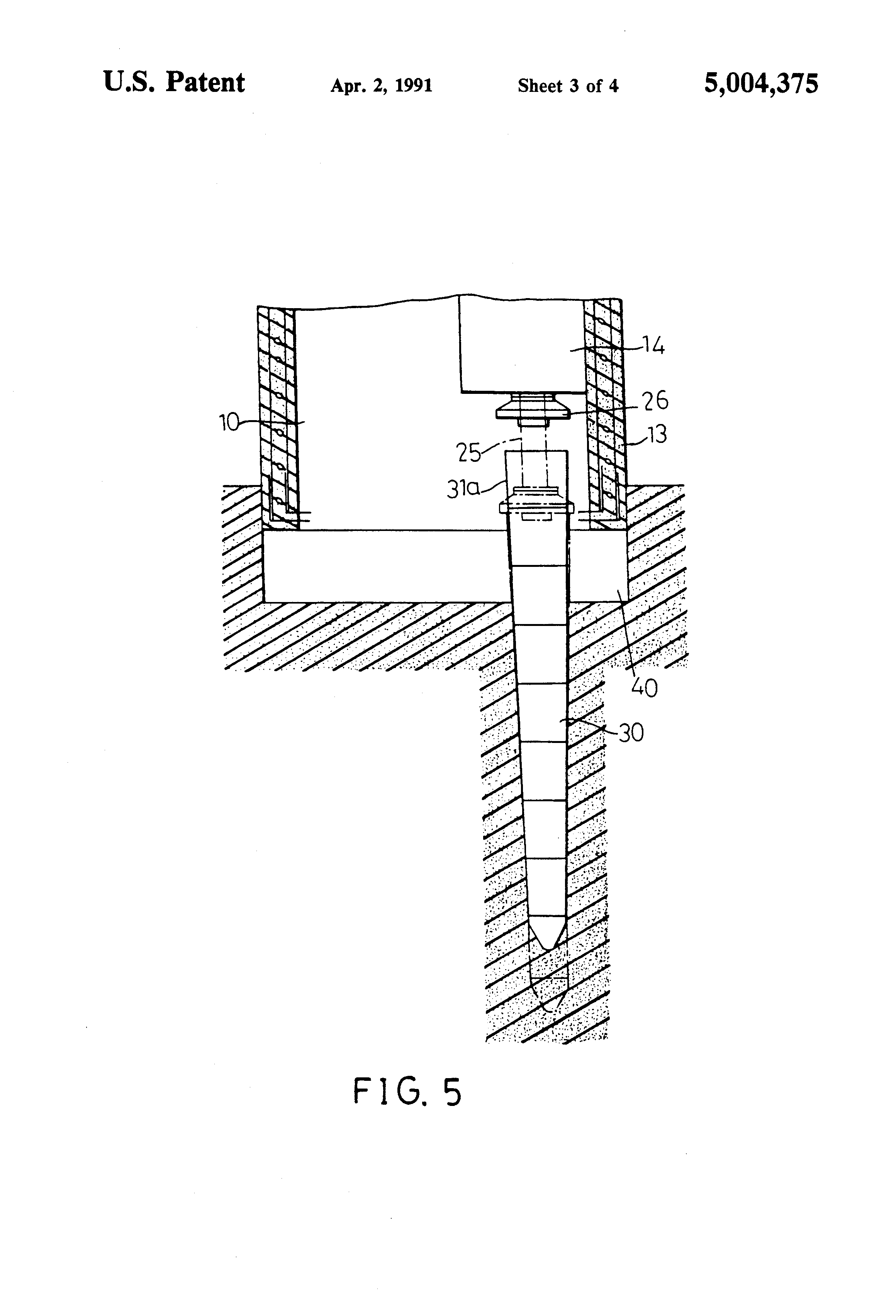 Patent us5004375 basement piles and basement for Basement construction methods