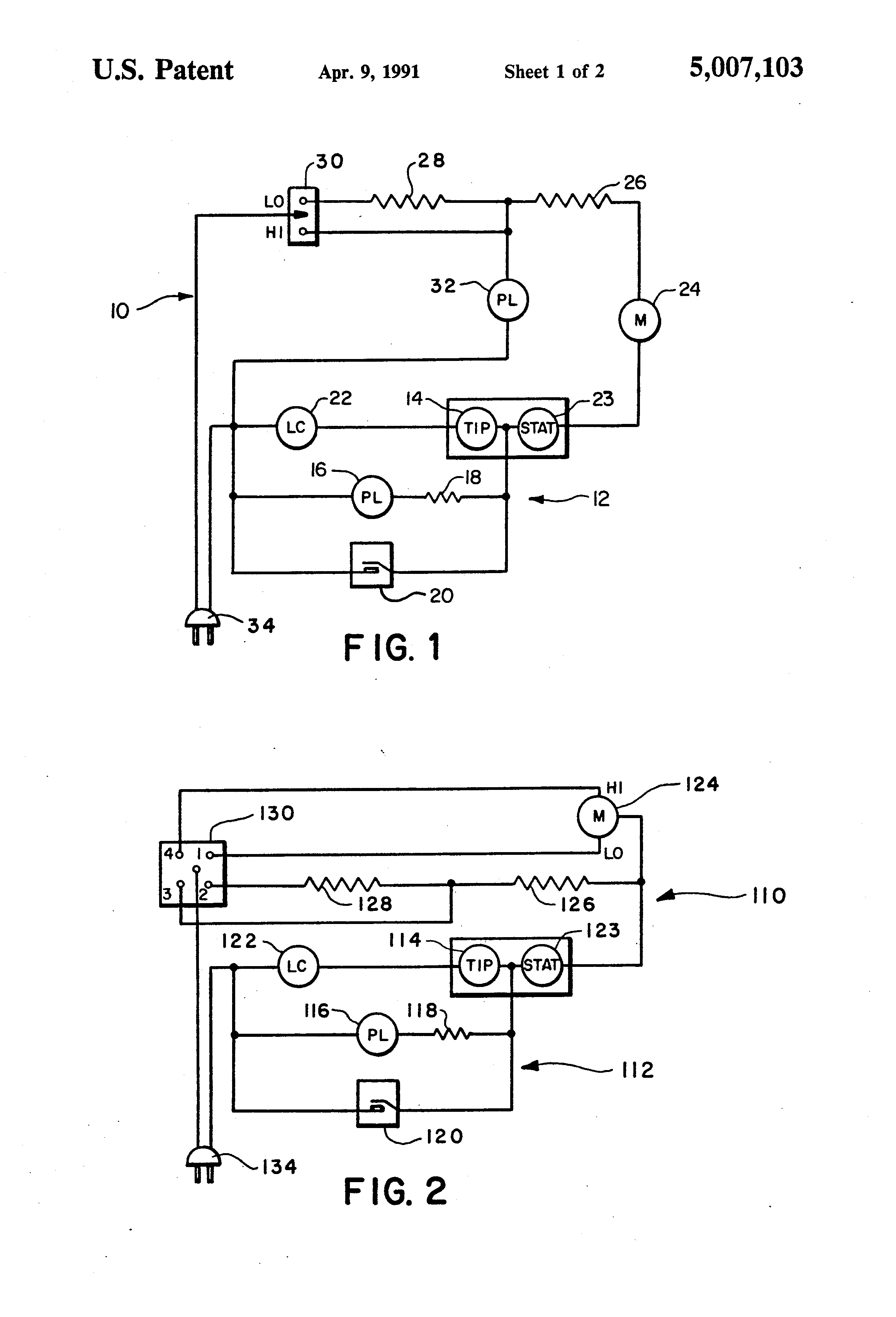 patent us5007103 automatic shut off and alarm for electric patent drawing