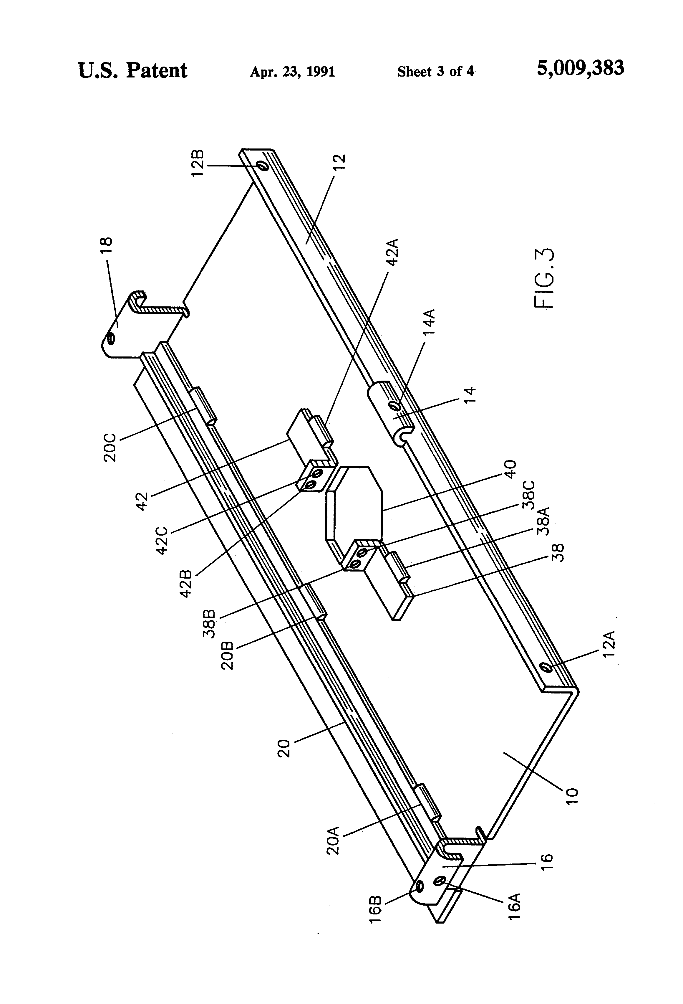 patent us5009383 - suspended ceiling electrical bracket