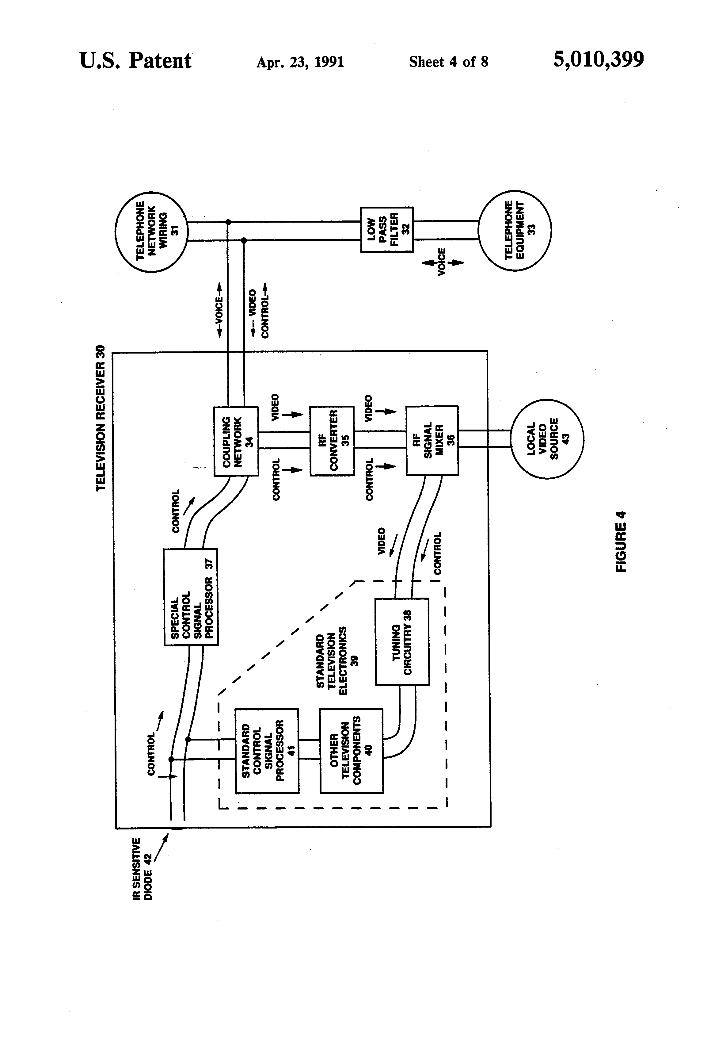 Patent Us5010399 Video Transmission And Control System Utilizing Parts List For Fig2 Active Tone Using Single Transistor Drawing