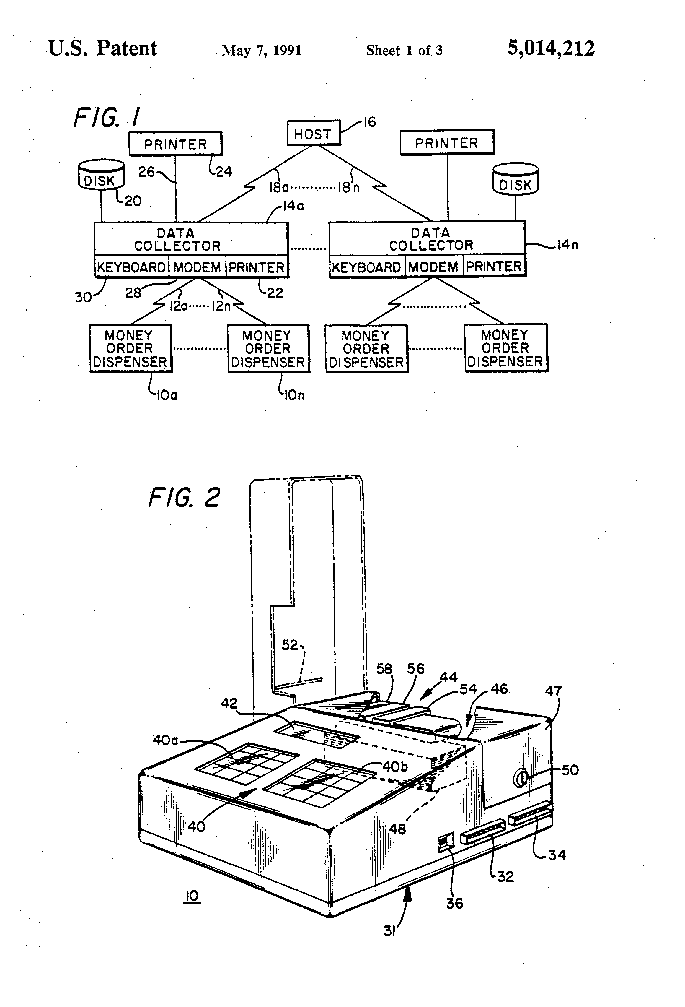 Patent us5014212 apparatus for dispensing money orders google patent drawing ccuart Images