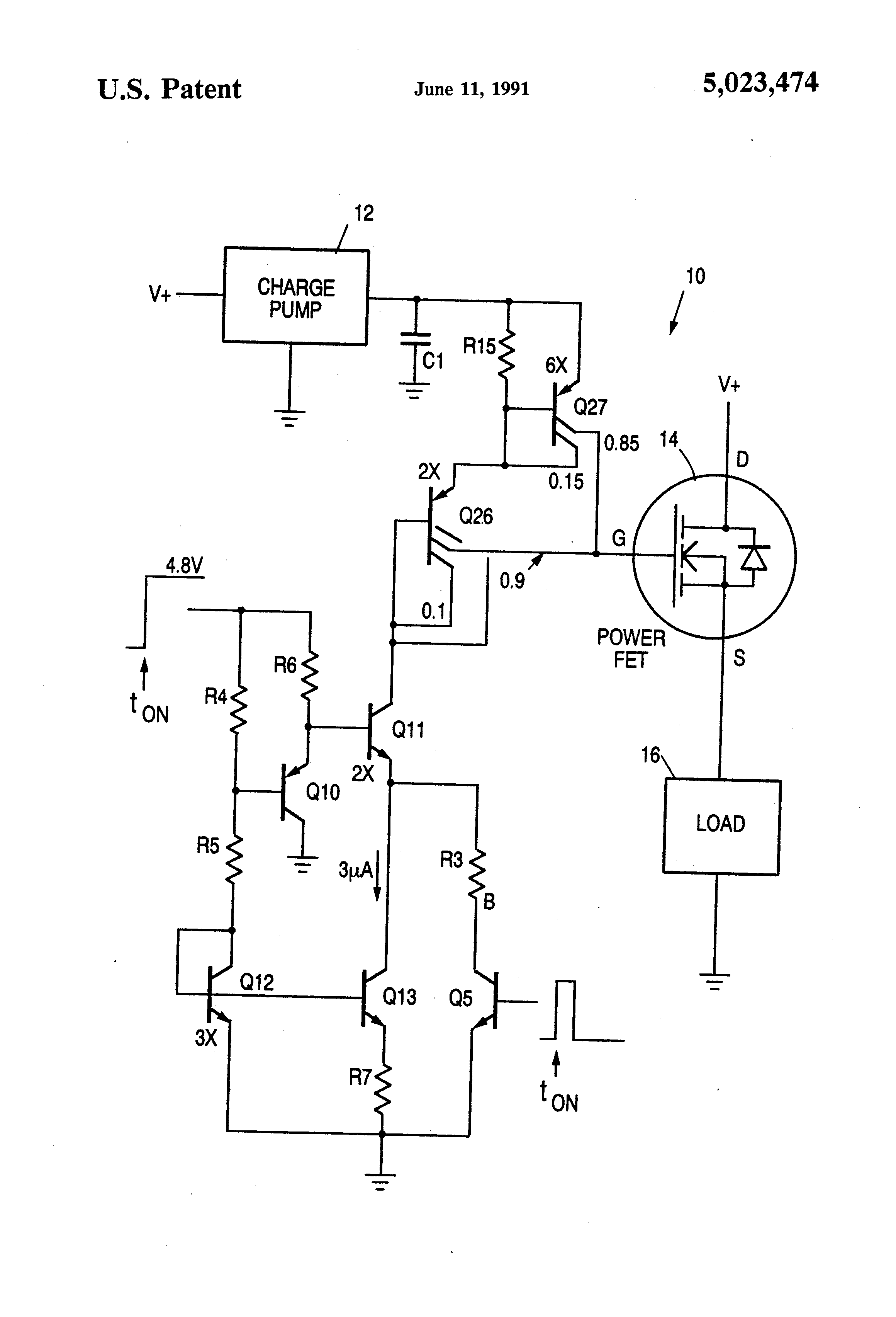Patent Us5023474 Adaptive Gate Charge Circuit For Power Fets Micropower Linear Voltage Regulator In The Battery Charger Drawing