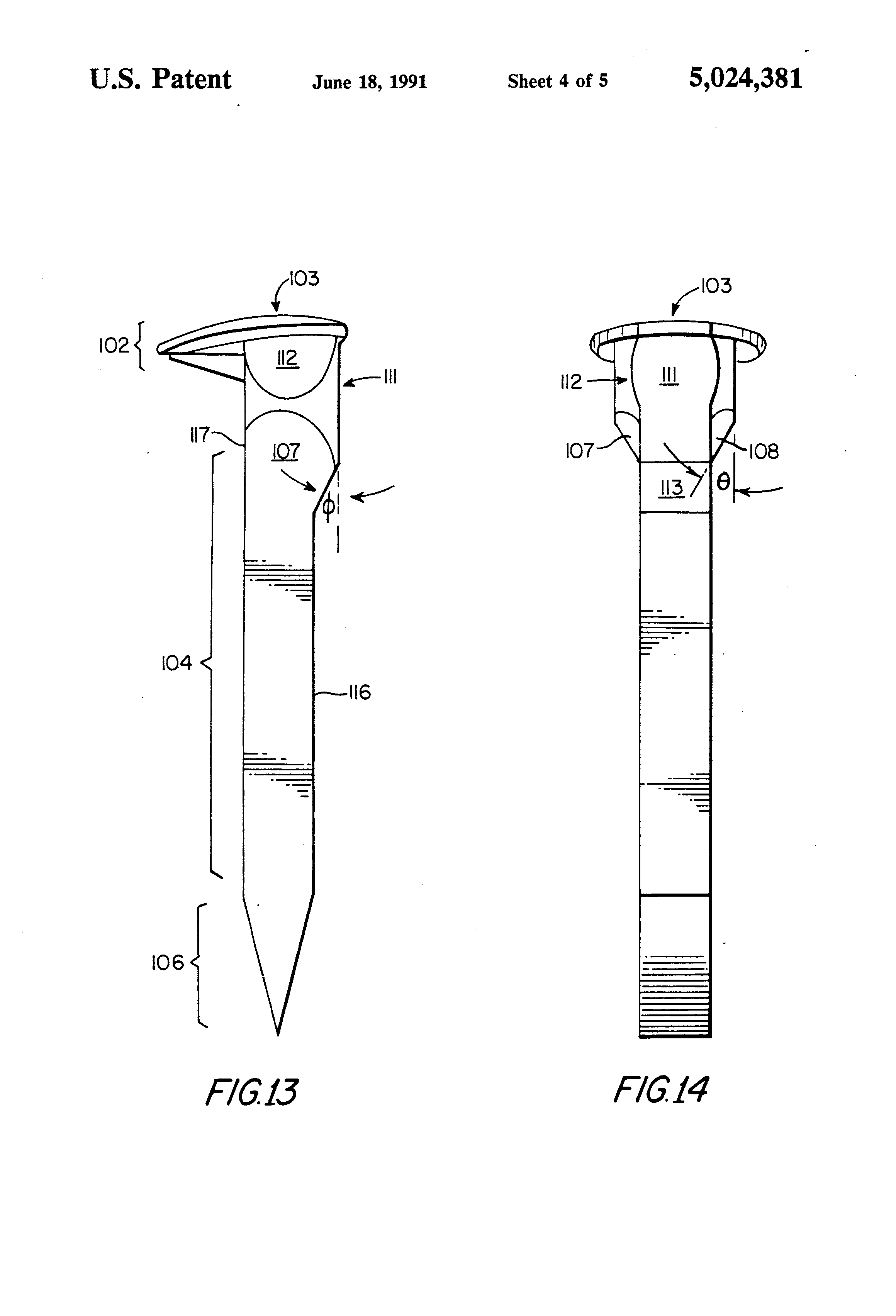 patent us5024381 active railroad spike and tie plate