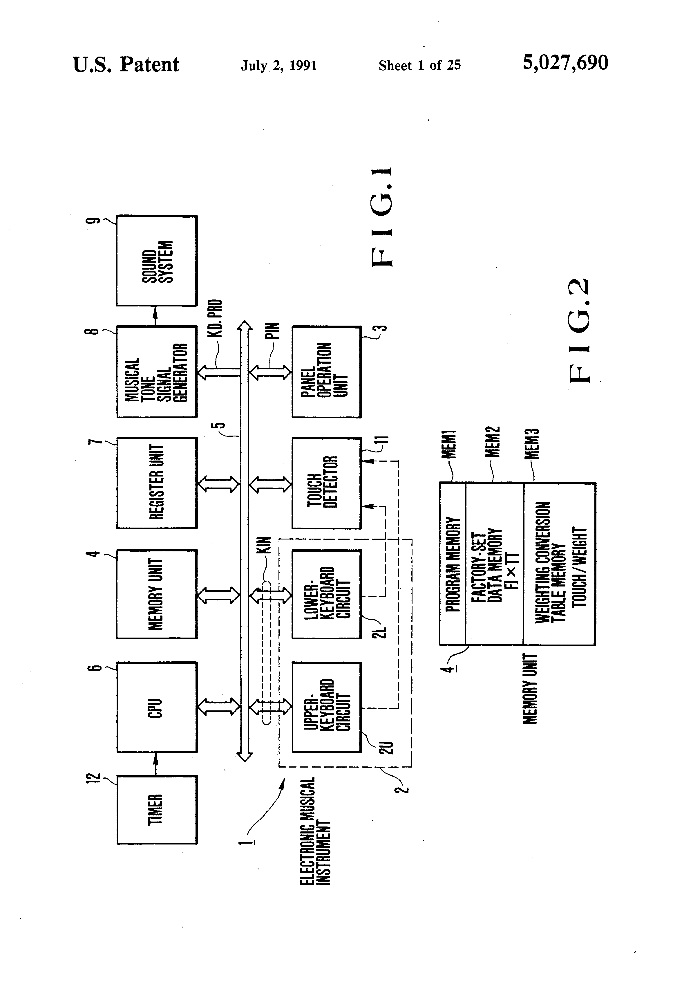 Patent Us5027690 Electronic Musical Keyboard Instruments With Circuit Diagram Drawing