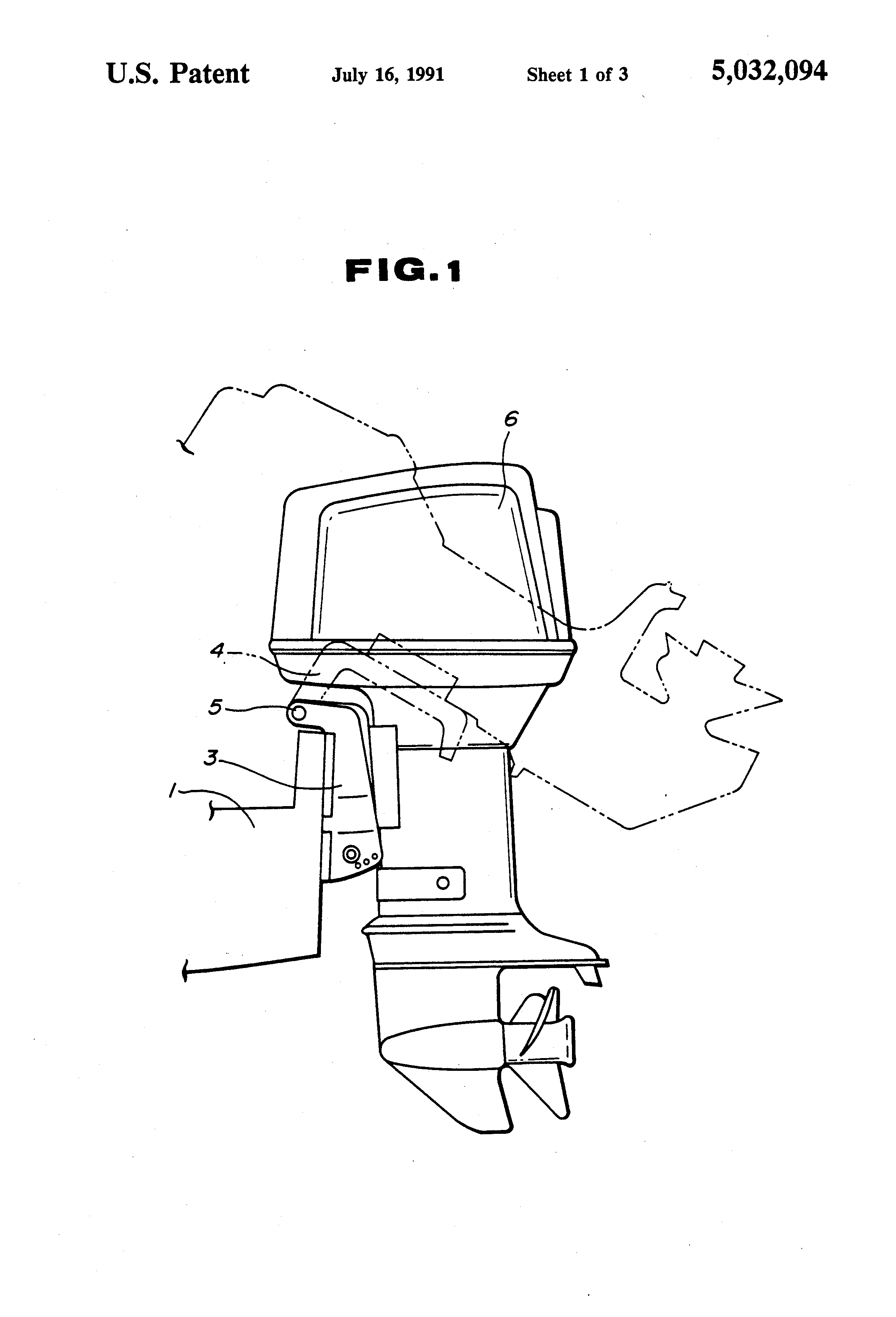 patent us5032094 - tilt-trim system for outboard motors