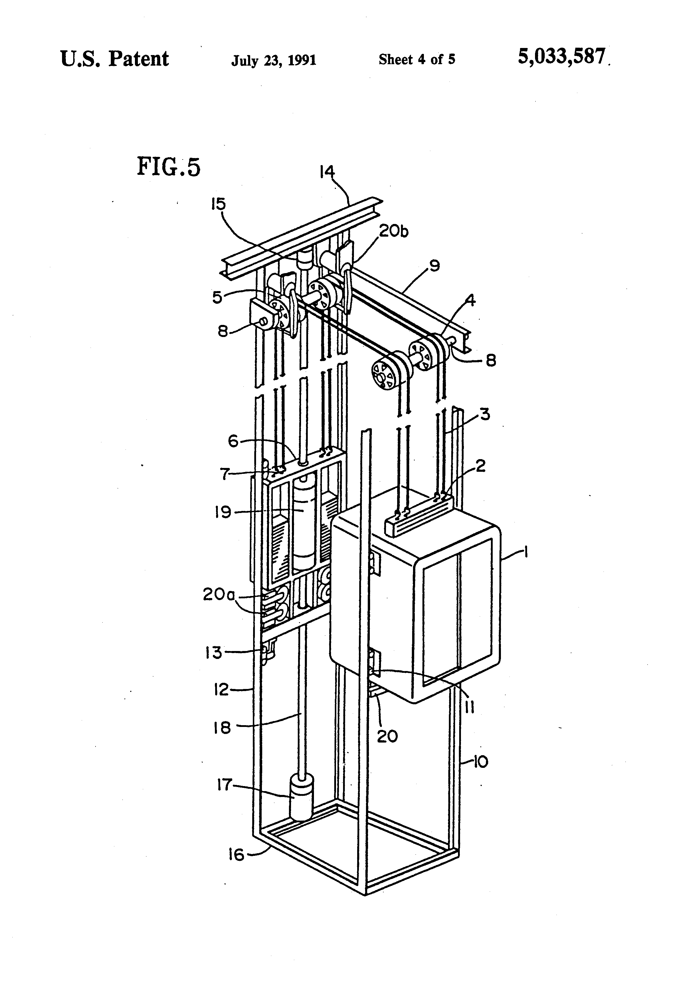 patent us5033587 - braking system for a linear motor driven elevator