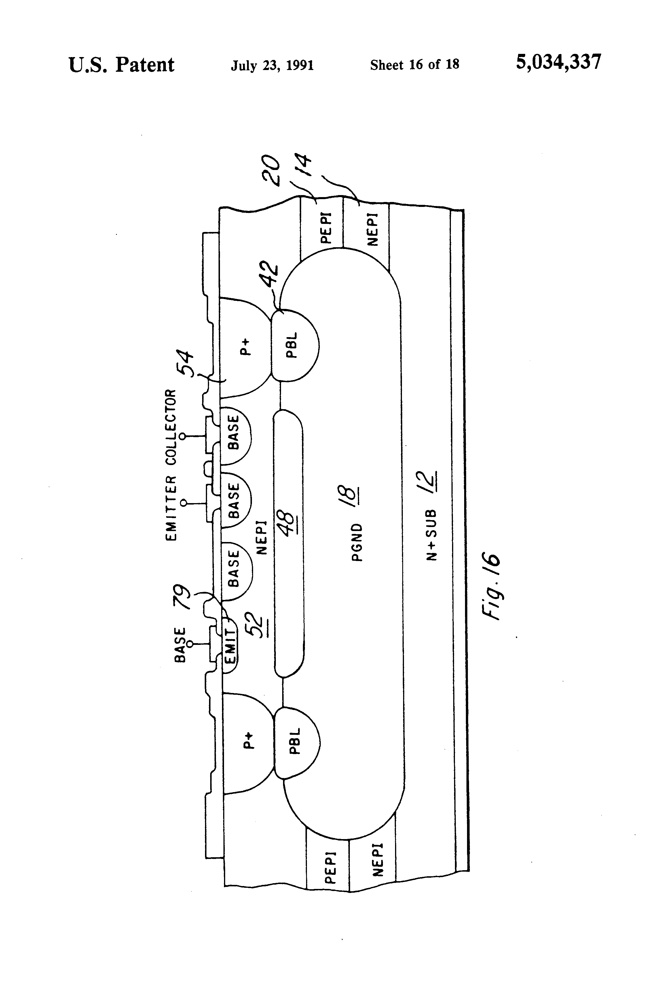 Patent Us5034337 Method Of Making An Integrated Circuit That Diffusion Impurities For Ic Fabrication Drawing