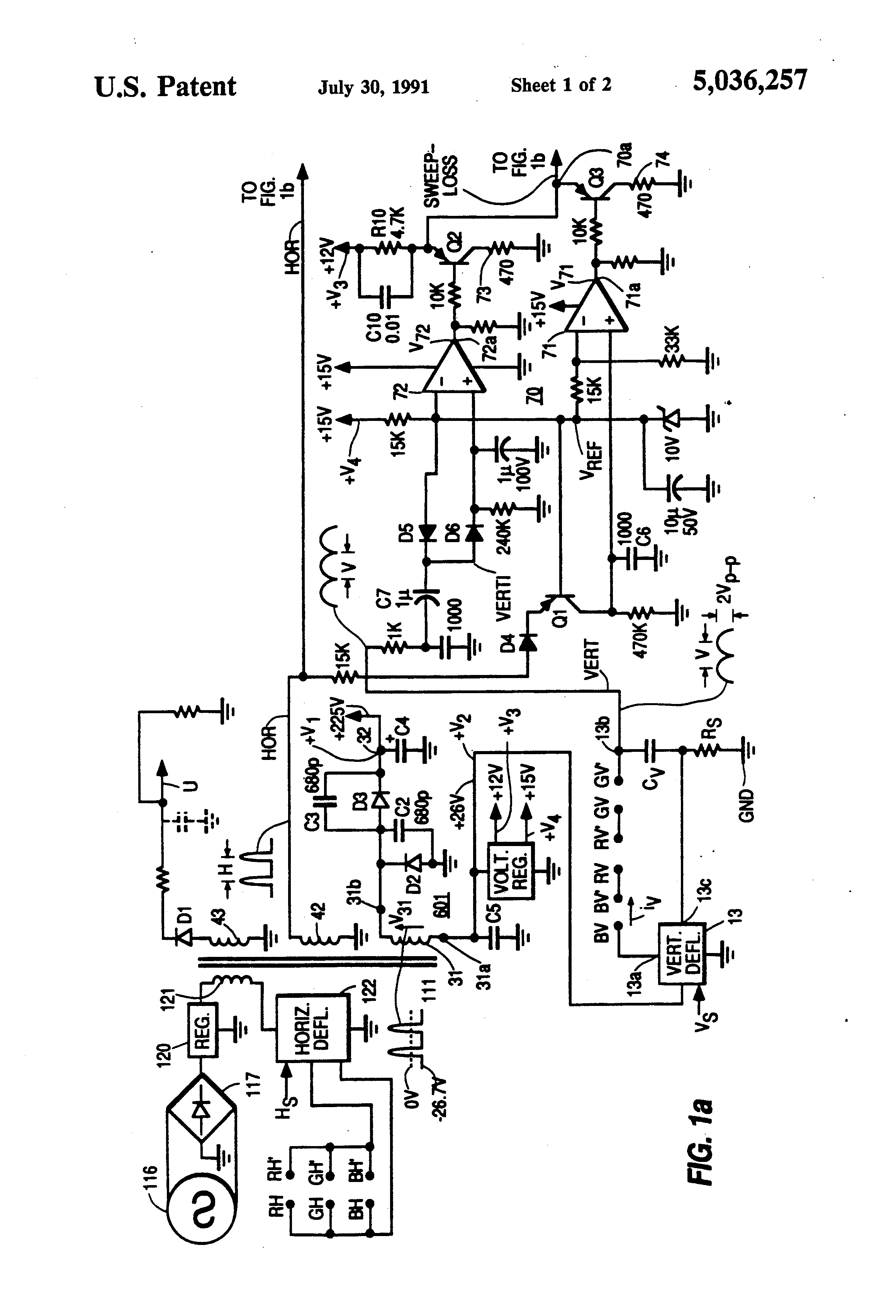 Patent Us5036257 Projection Tv Deflection Loss Protection Circuit Simple Current Limiter Protects Opencollector Drawing