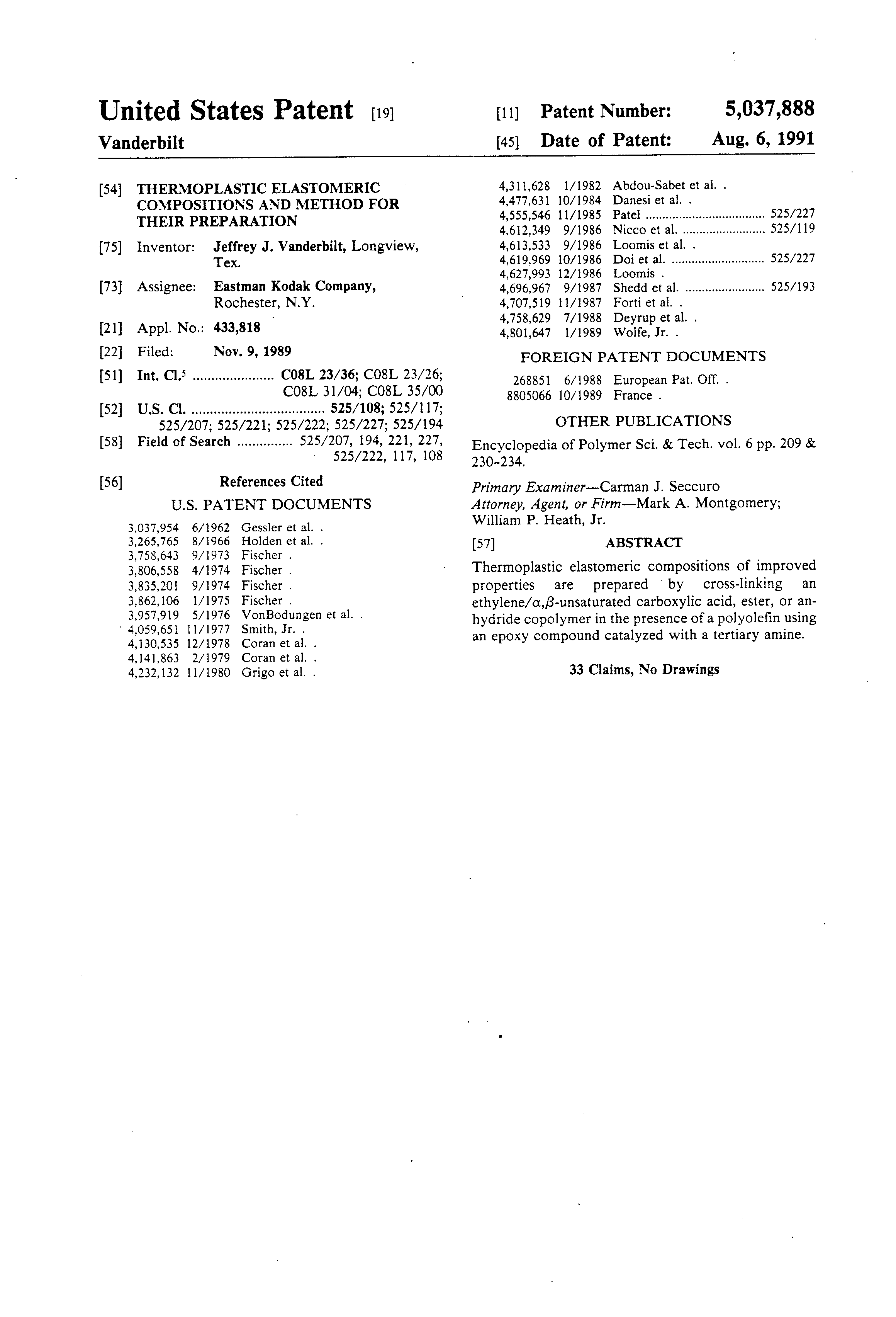 Patent Us5037888 Thermoplastic Elastomeric Compositions