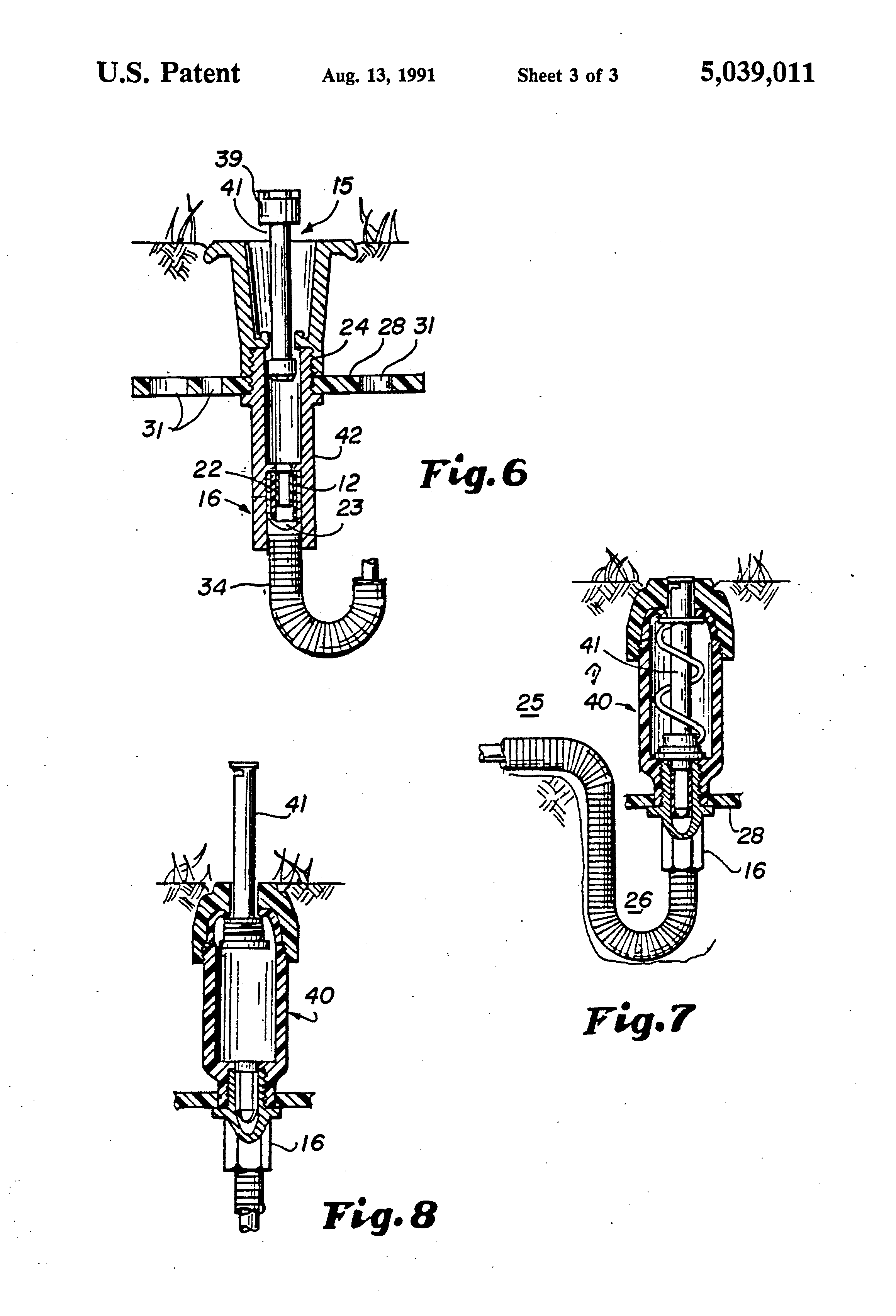 patent us5039011 - underground connectors for sprinkler systems