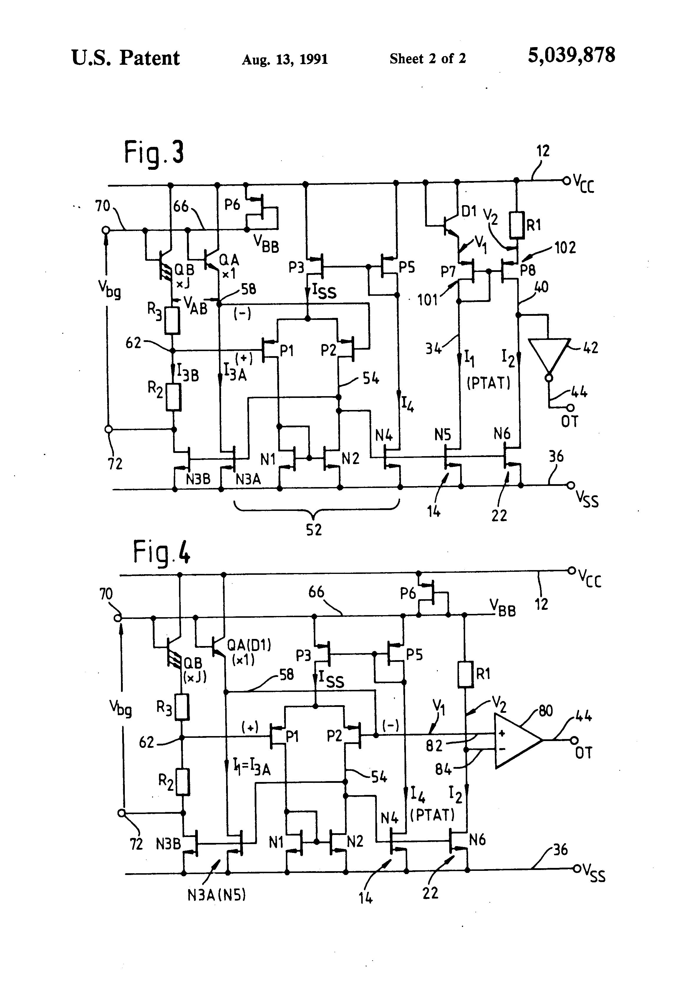 patent us5039878 - temperature sensing circuit