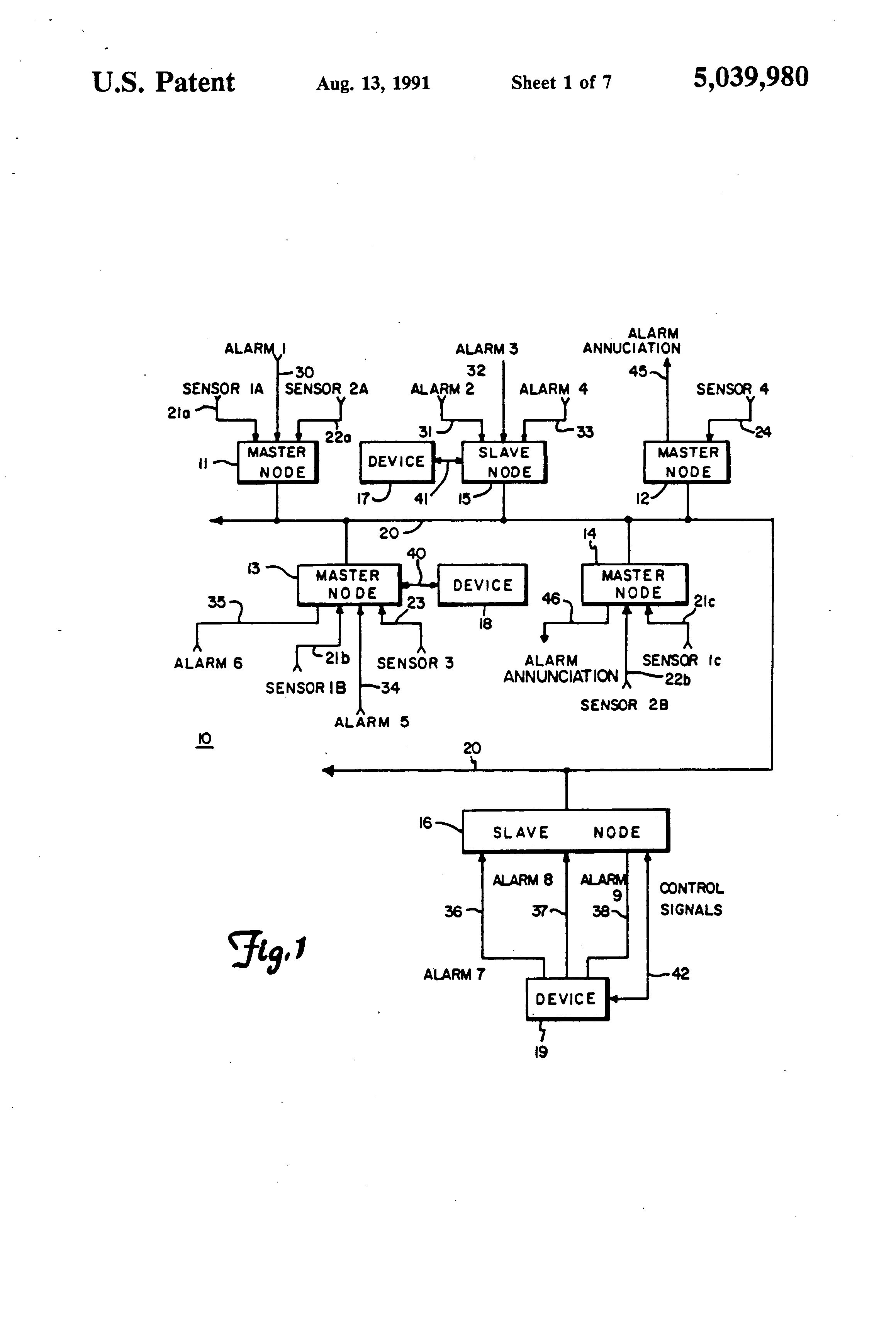 US5039980 1 patent us5039980 multi nodal communication network with true gdm 72f wiring diagram at fashall.co