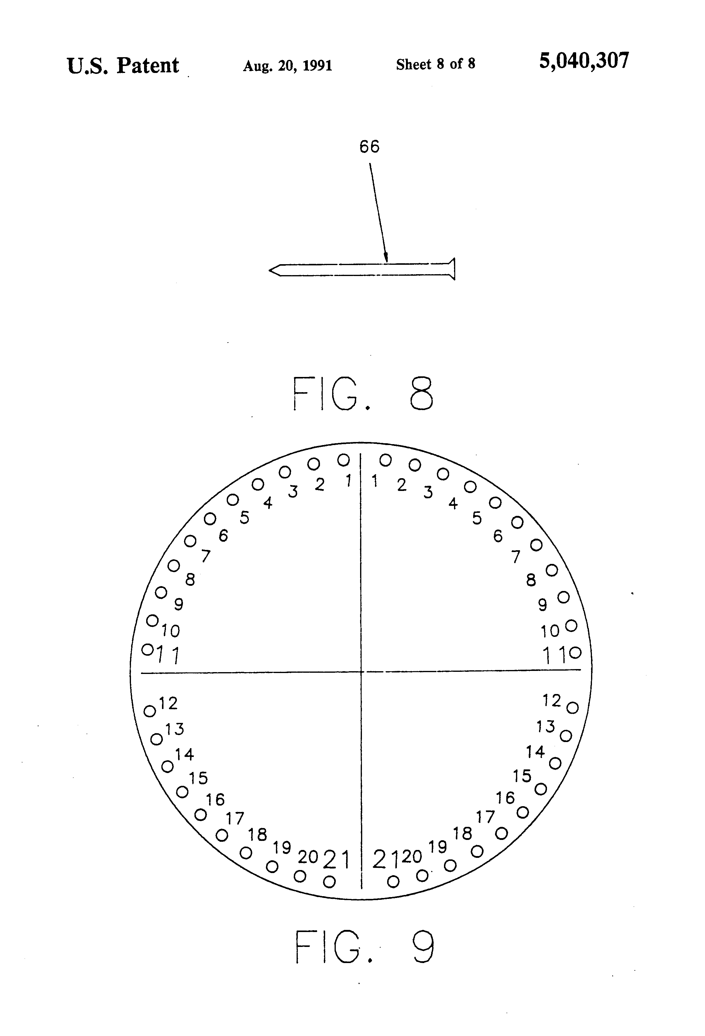 patent us5040307 - measuring and scoring devices for horseshoe pitching game