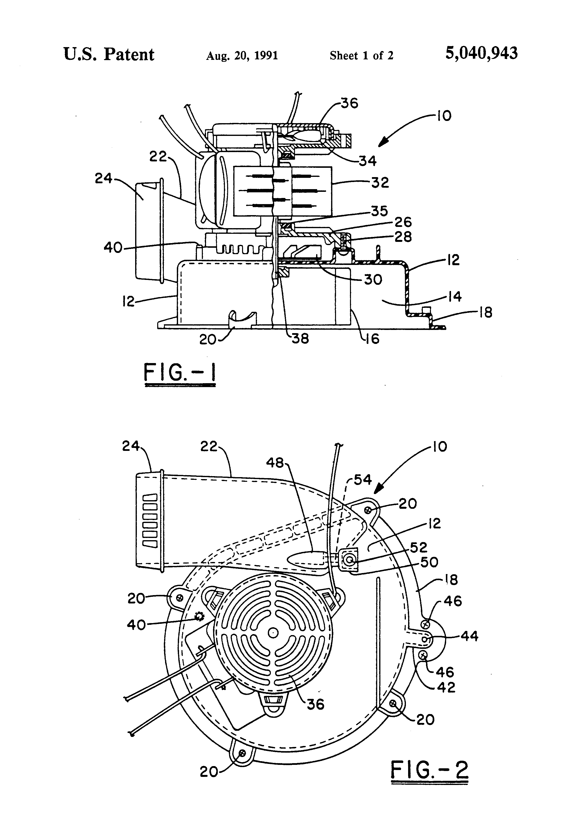 Patent us5040943 furnace blower housing and mounting for Blower motor mounting bracket