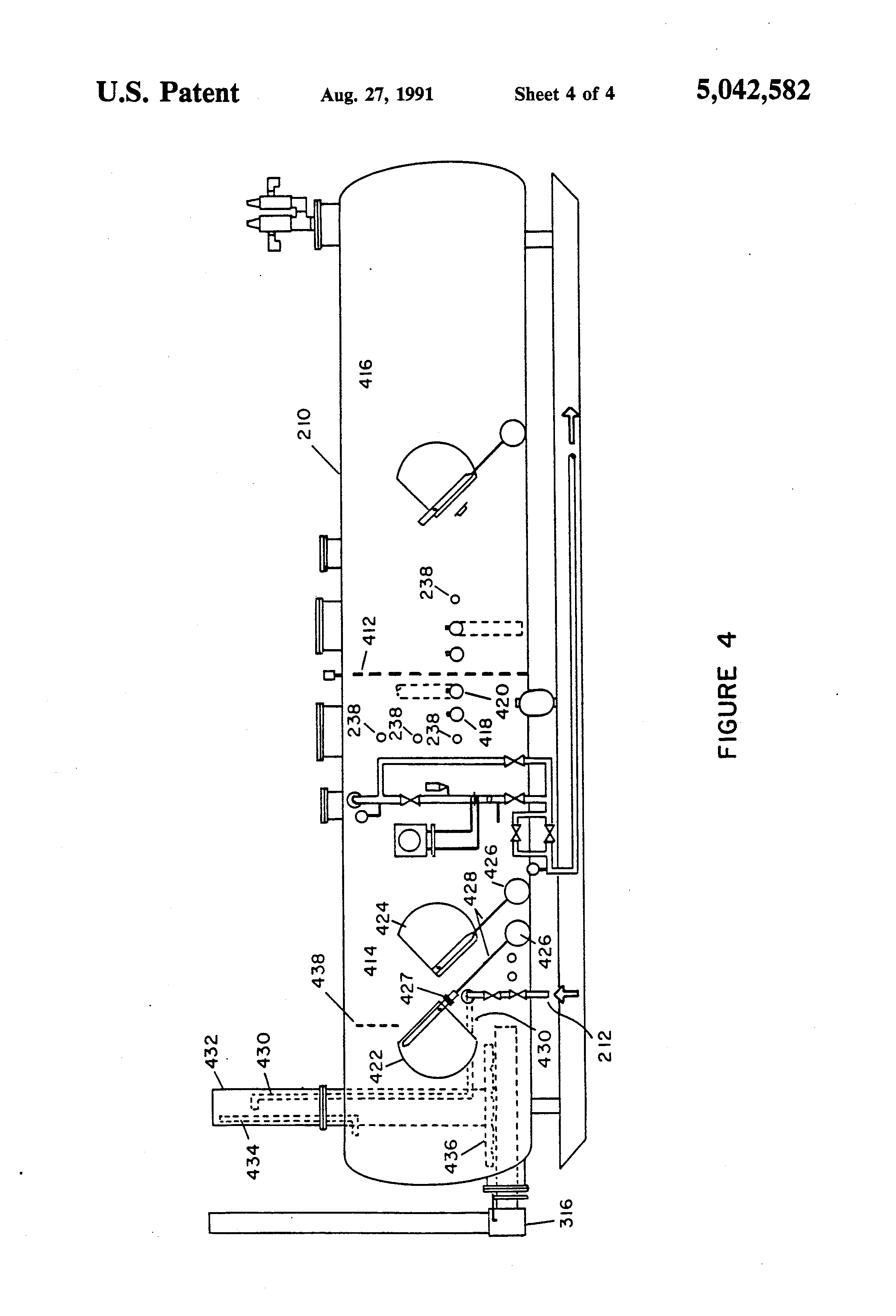 patent us5042582 - horizontal heater  treater and  or vapor tight oil battery
