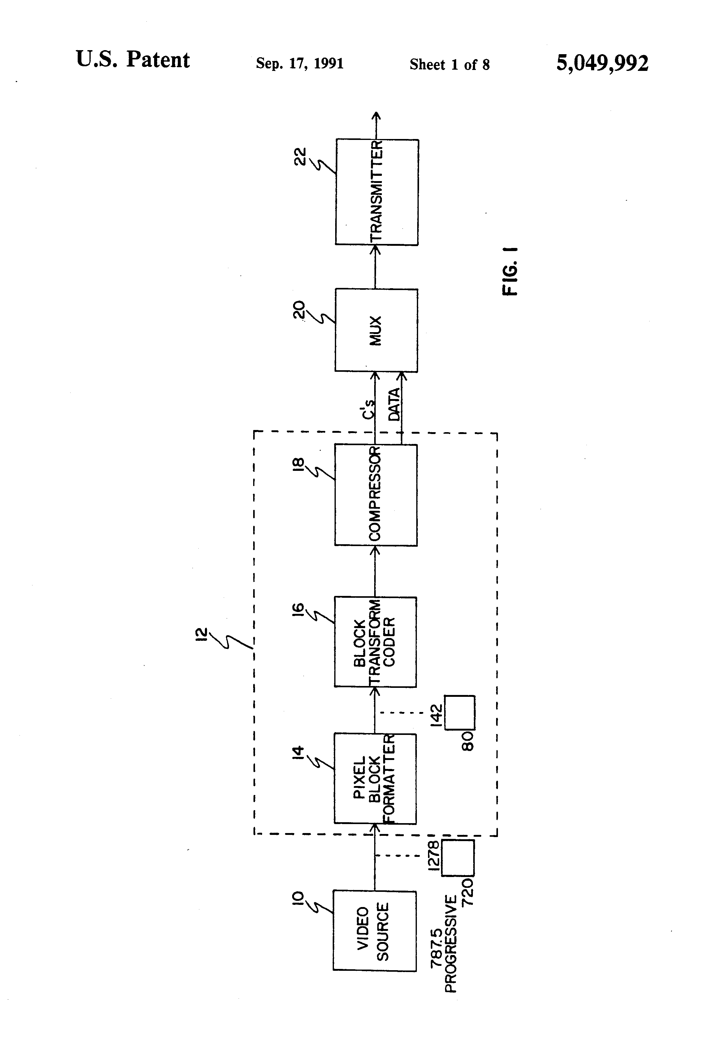 Patent Us5049992 Hdtv System With Receivers Operable At Different Block Diagram Drawing