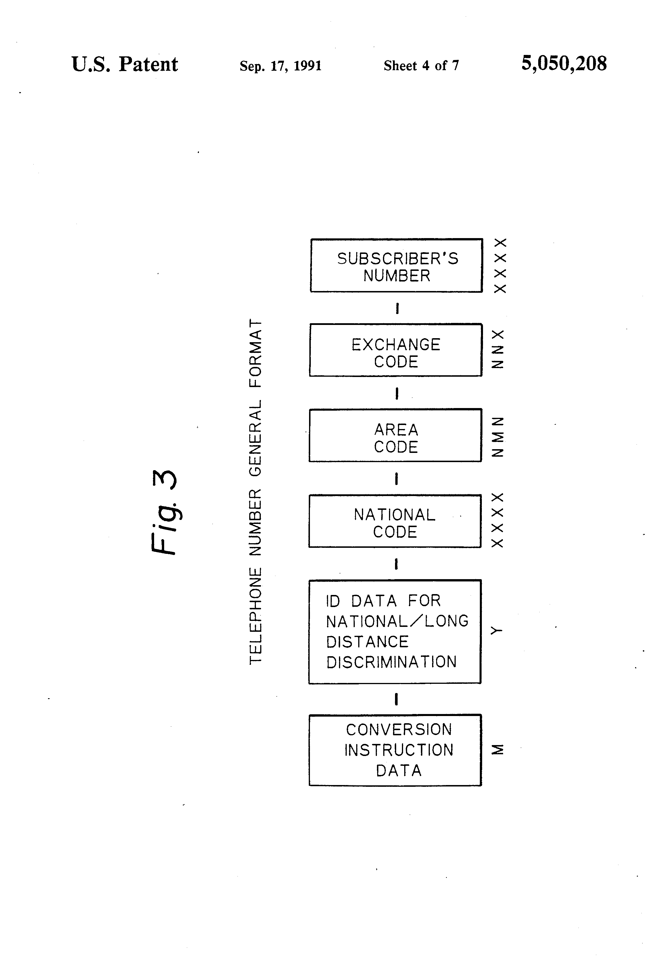 Patent US5050208 Relaying destination and designation system