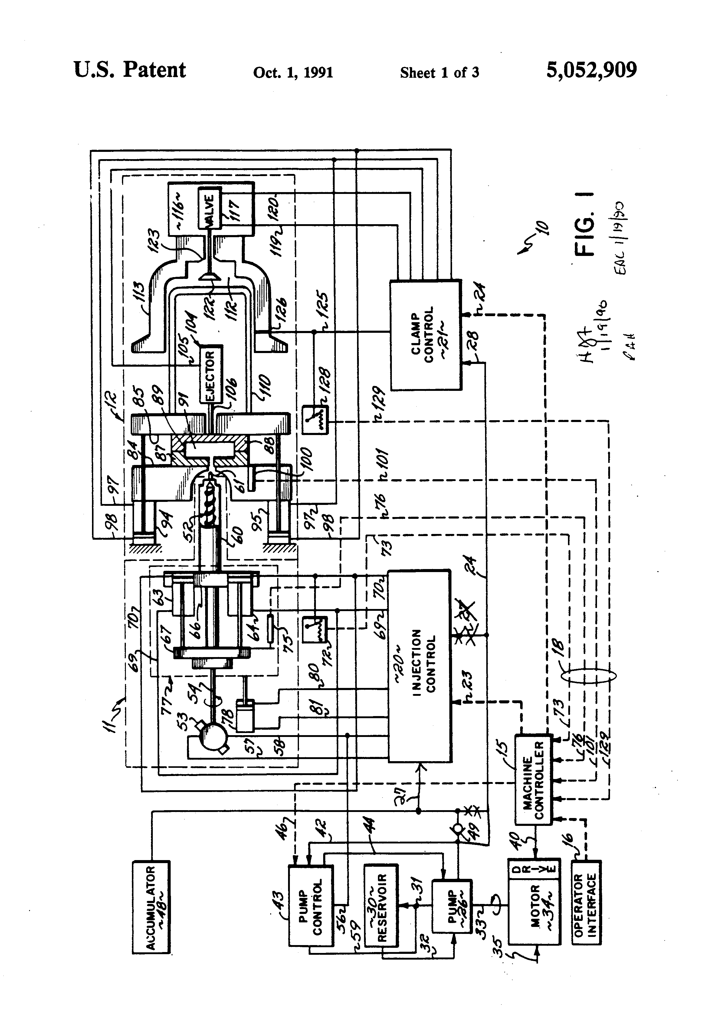 patent us5052909 energy conserving injection molding machine patent drawing