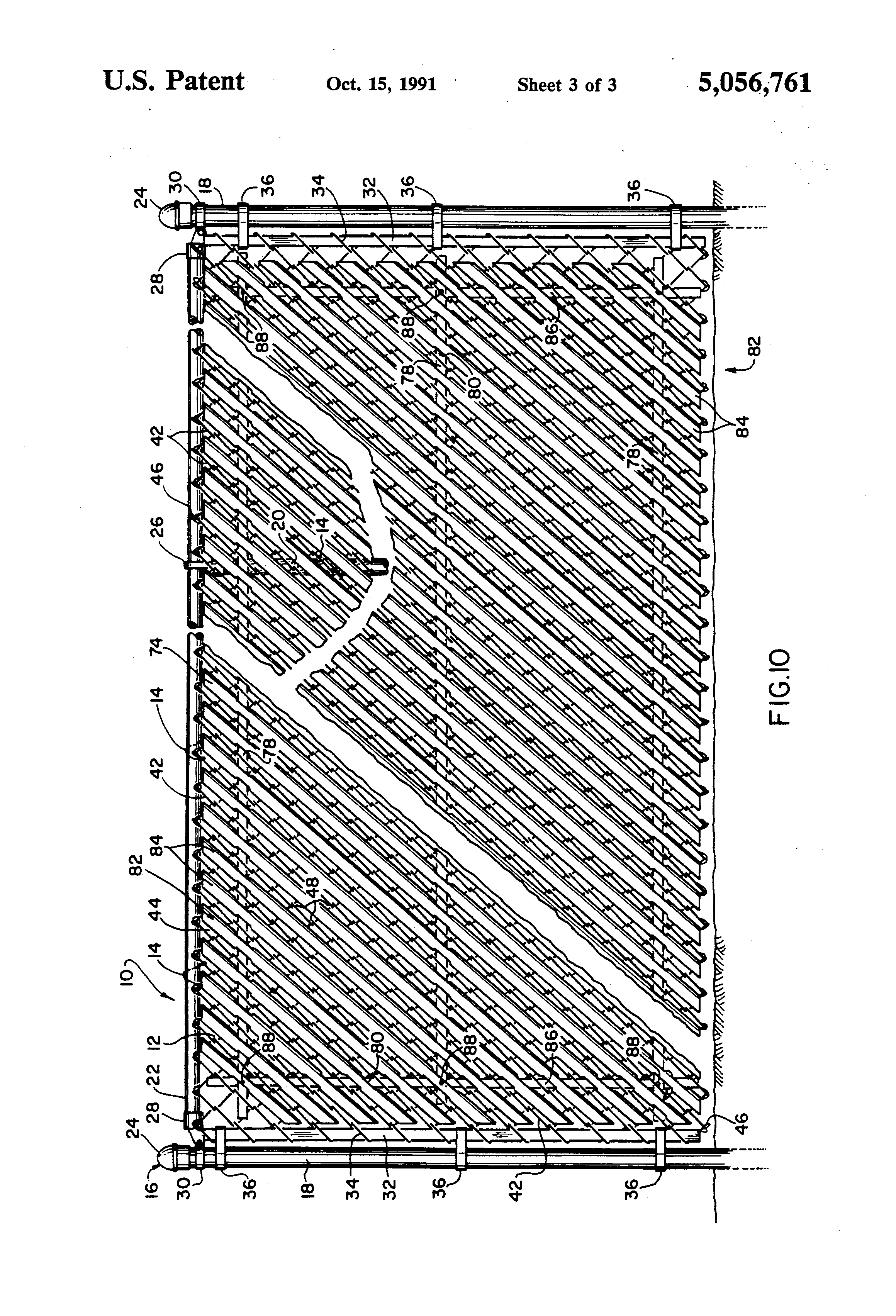 Chain Link Fence Drawing patent us5056761 - slat-retaining means for chain link fences