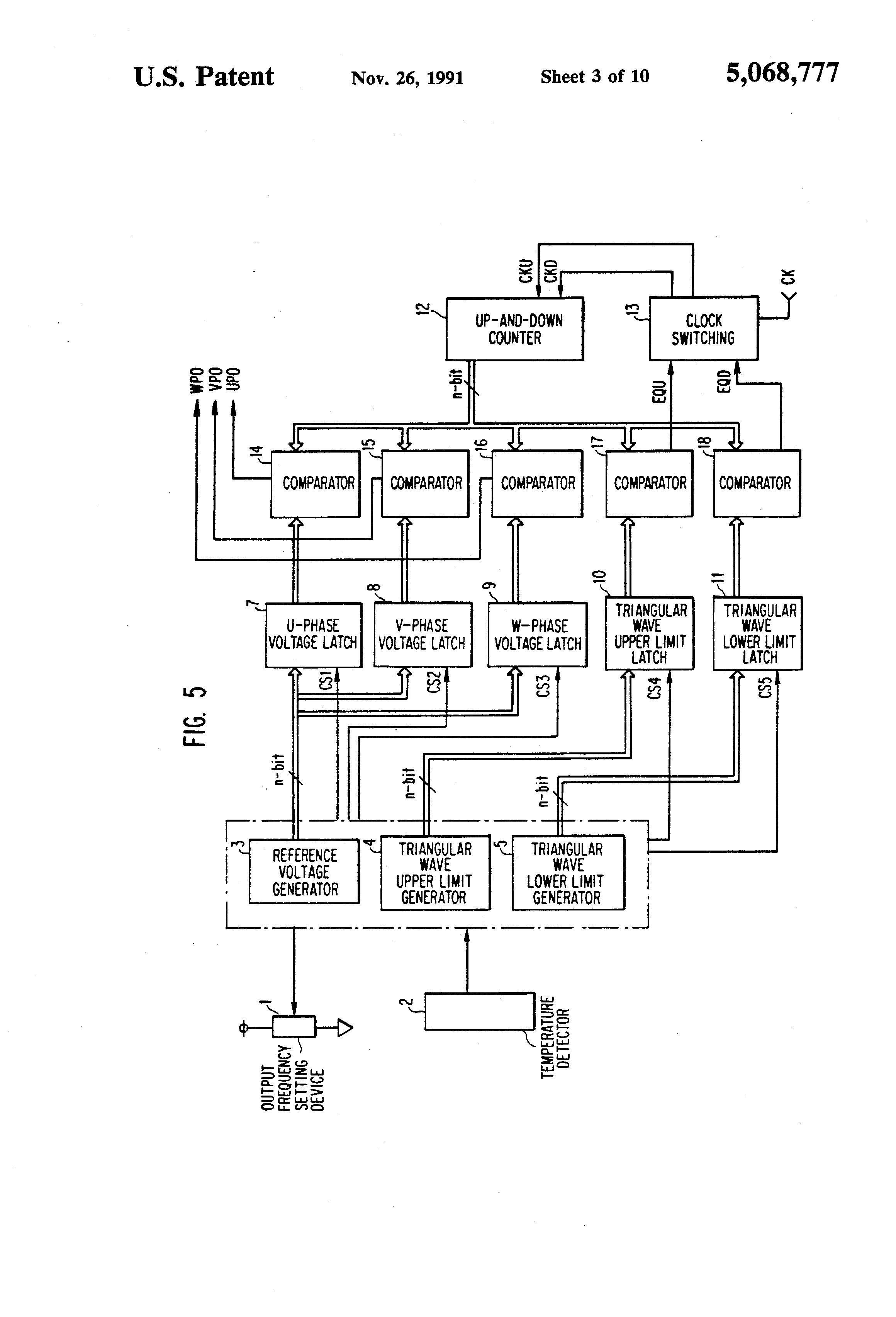 Patent Us5068777 Pulse Width Modulation Type Inverter Having Triangular Wave Generator Drawing