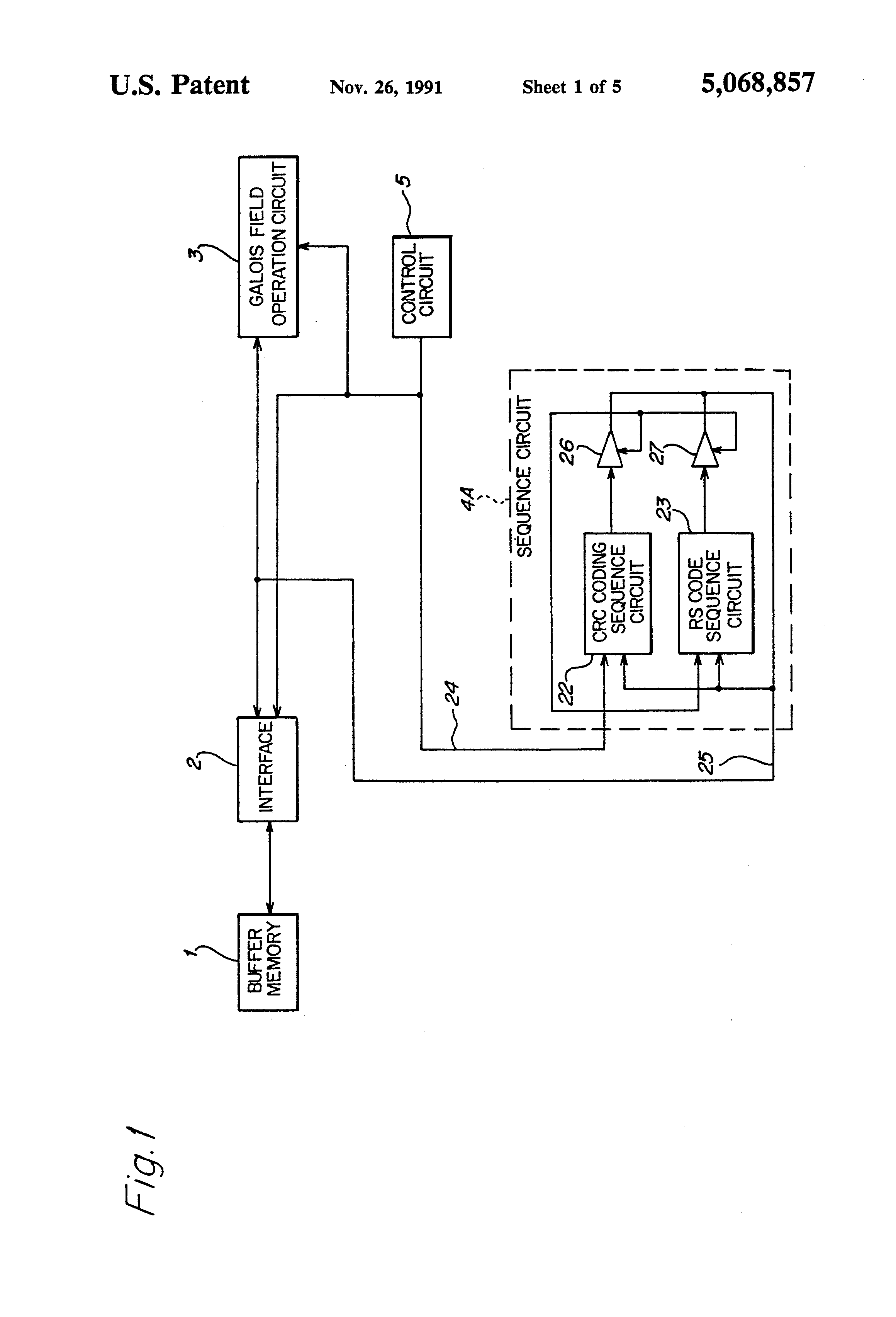 patent us5068857 - error correction circuit