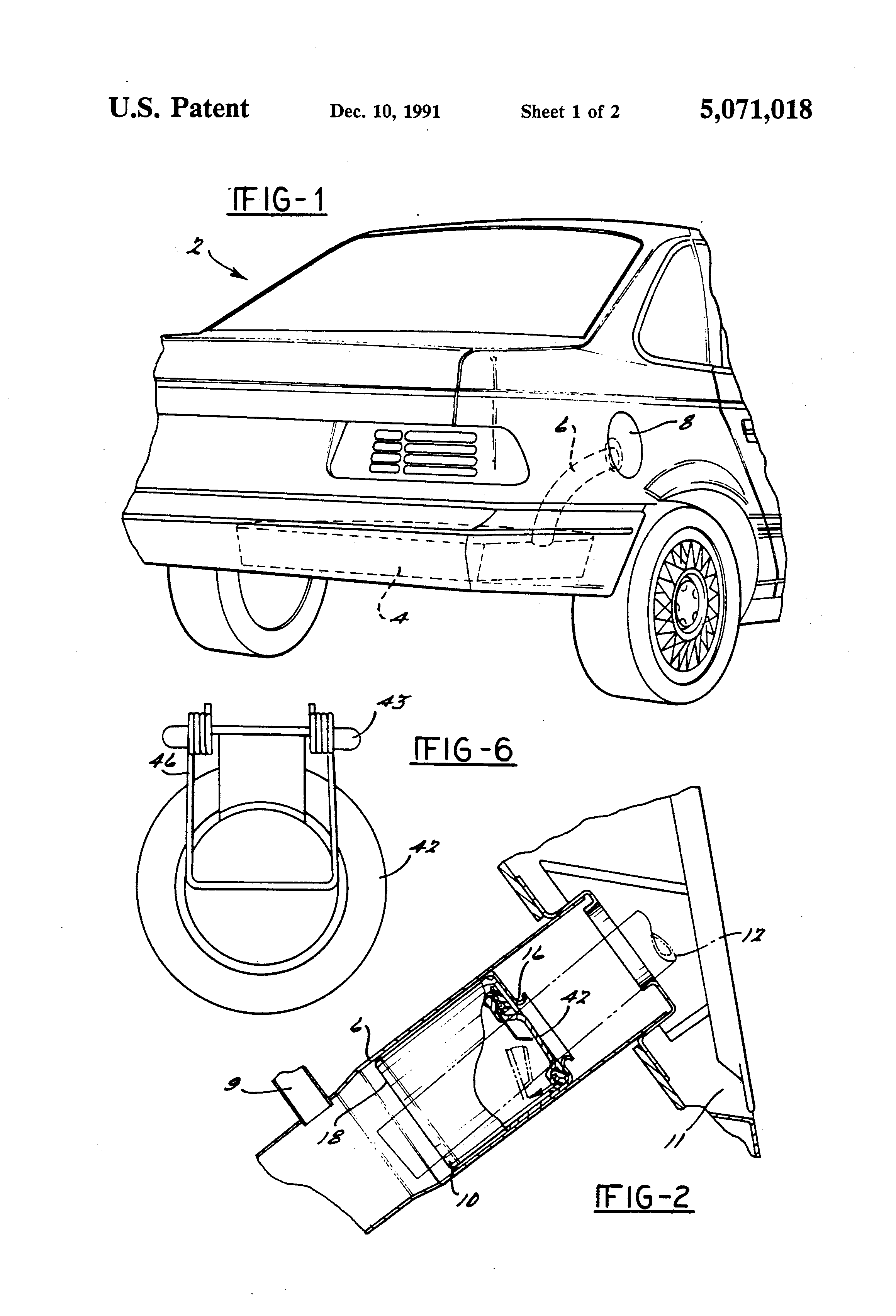 patent us5071018 - capless closure assembly for a fuel filler pipe
