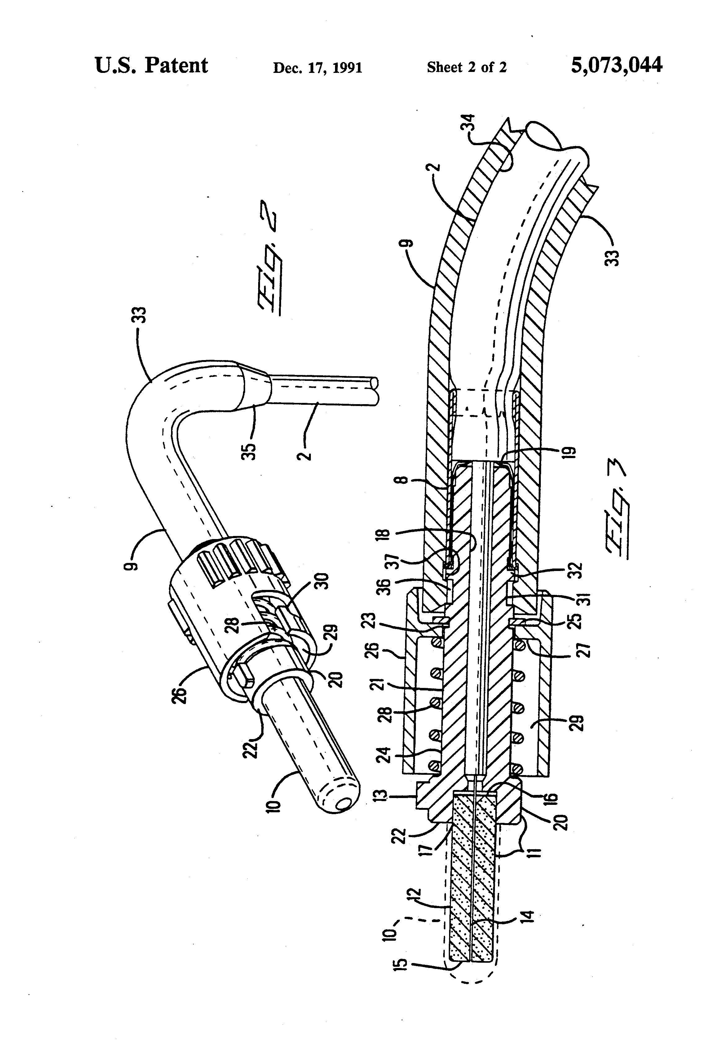 patent us5073044 - right angle strain relief for optical fiber connector