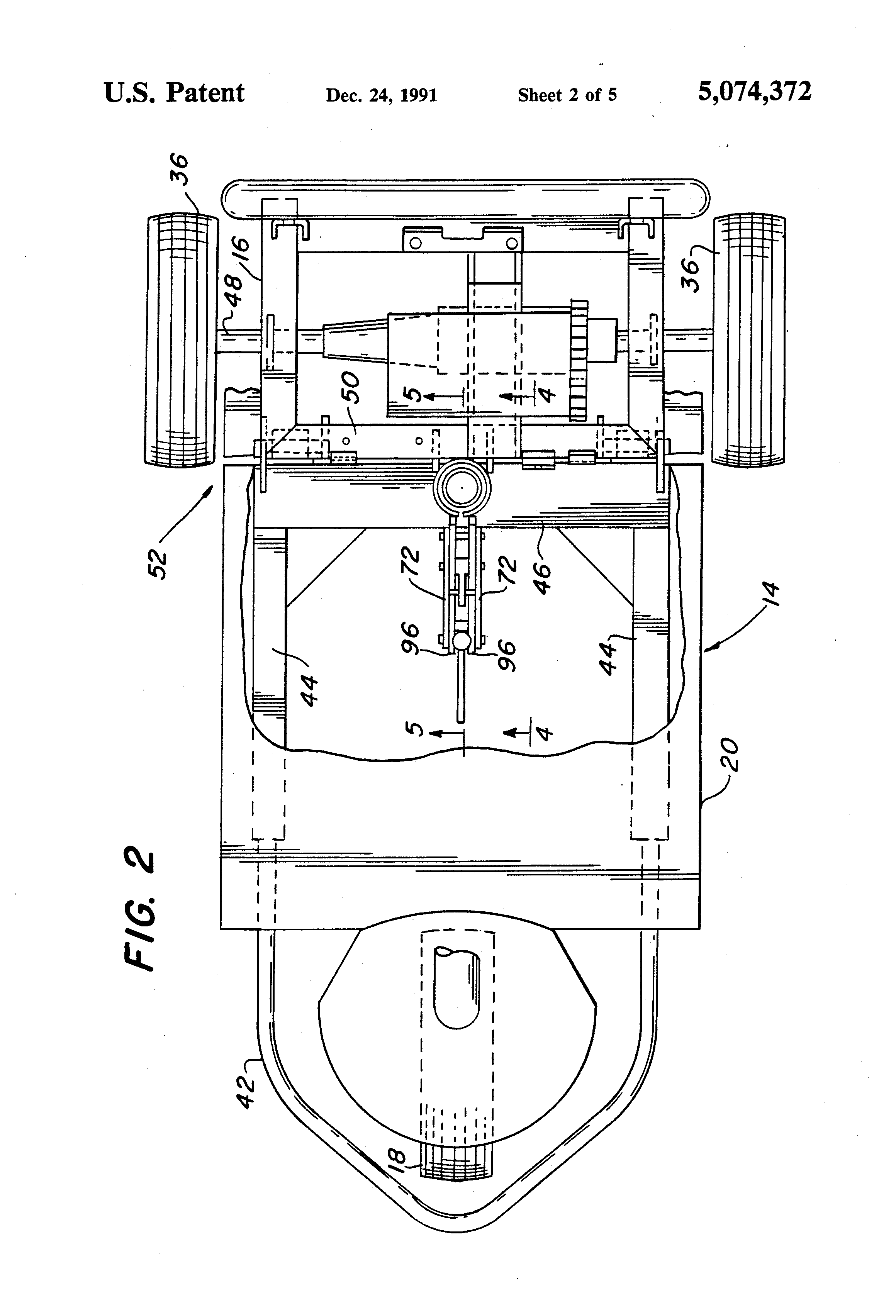 patent us5074372 - knock down motorized three-wheeled vehicle