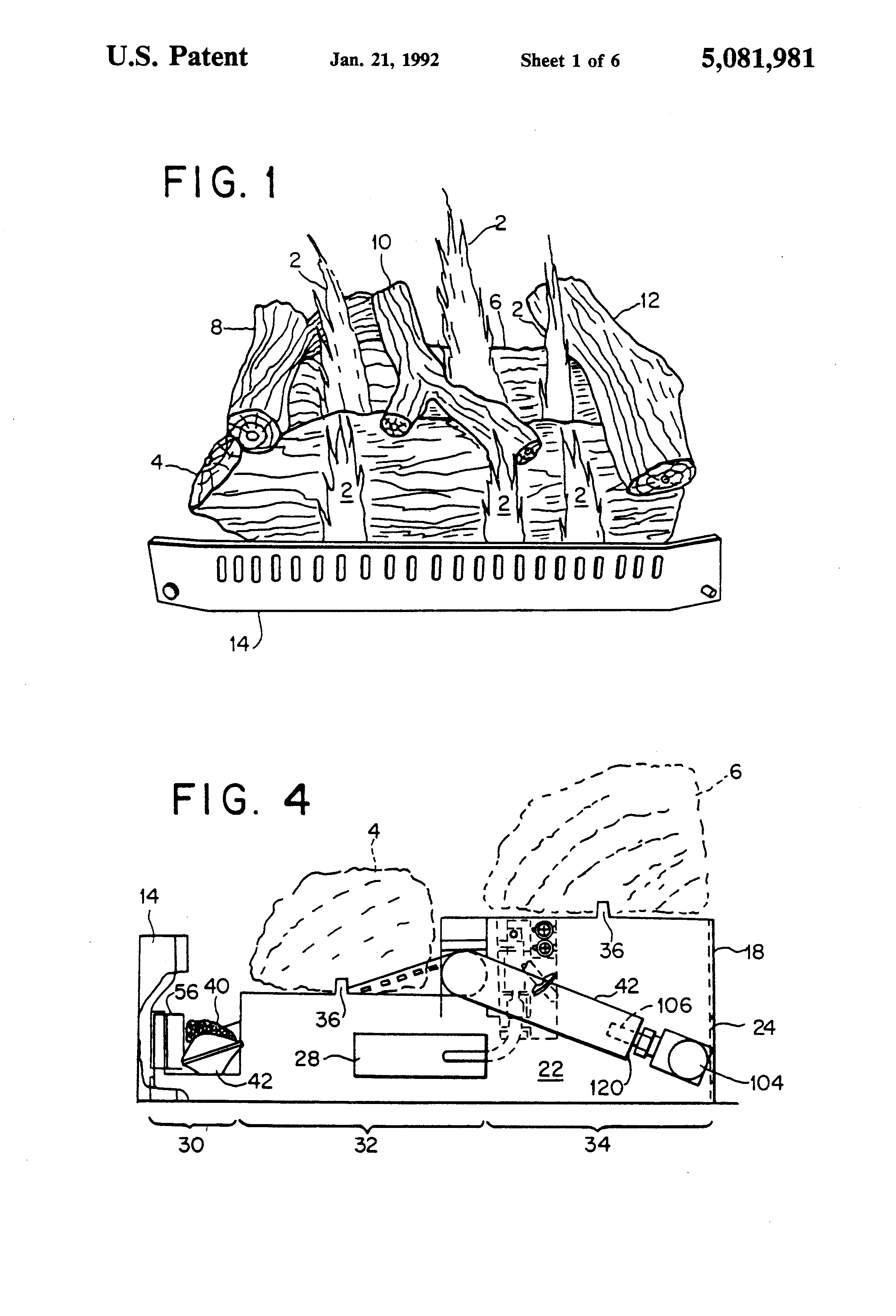 patent us5081981 yellow flame gas fireplace burner assembly