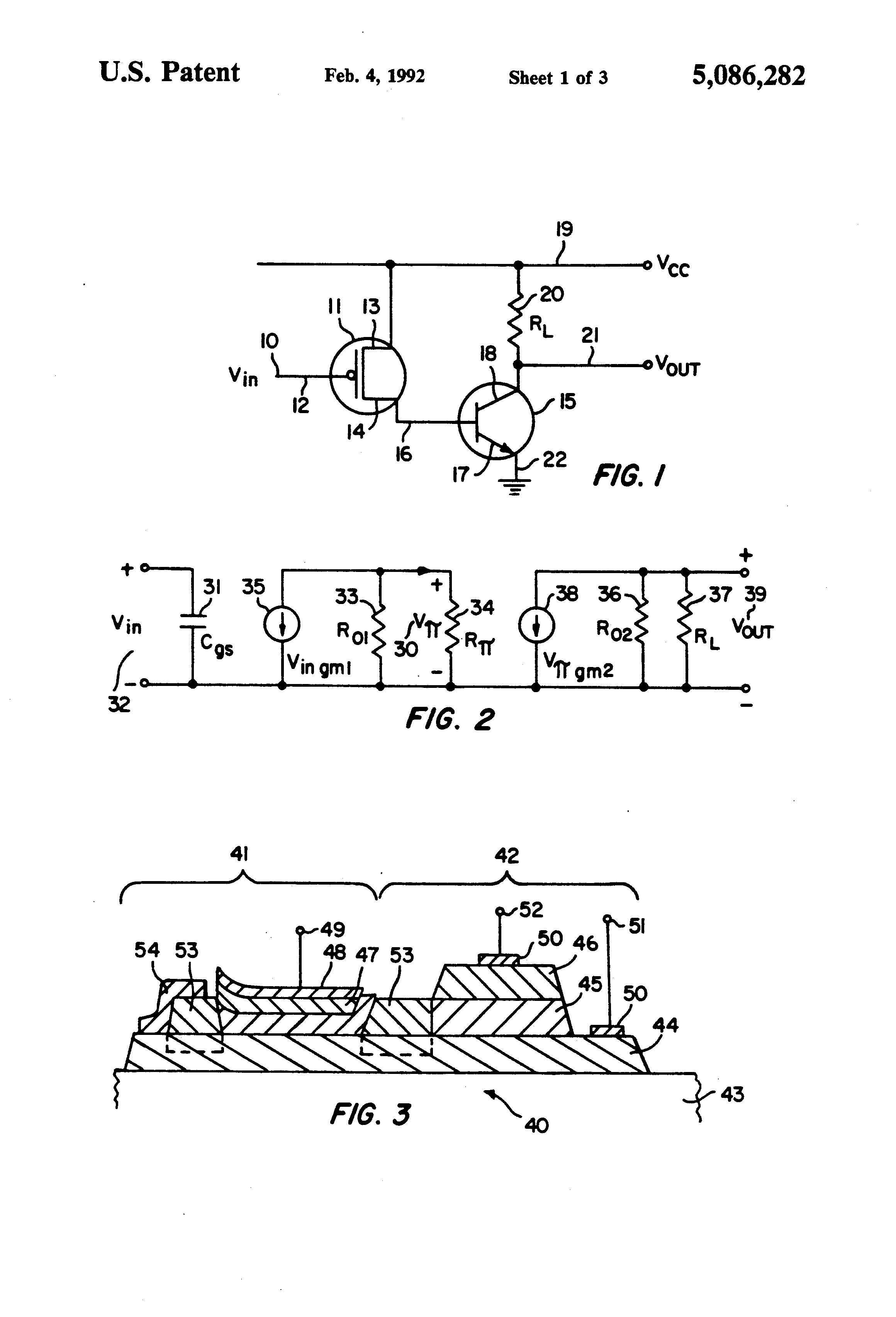 Patent Us5086282 Field Effect Transistor Bipolar Basic Electricity And Electronics Darlington Pairs Drawing