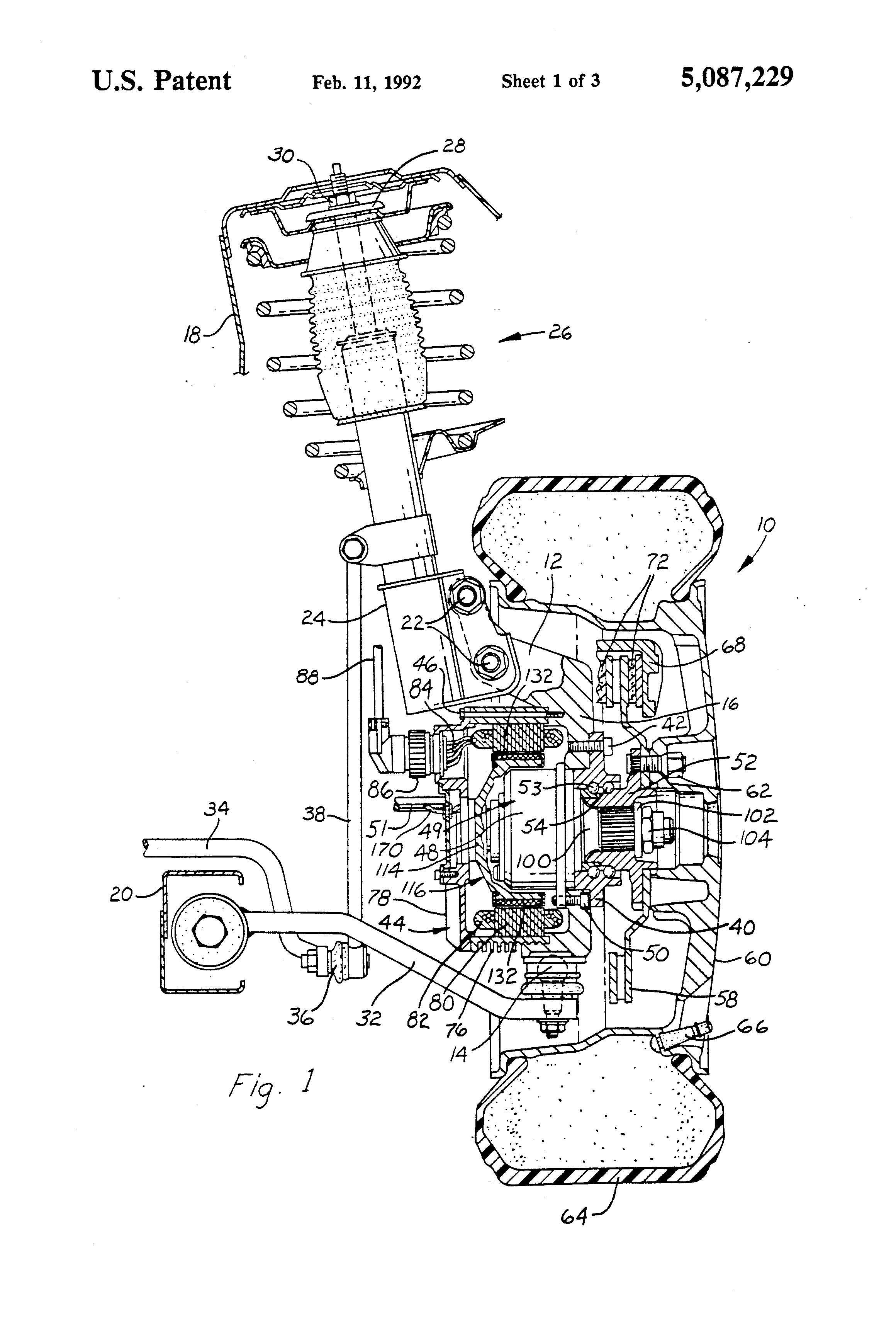 patent us5087229 independently suspended steerable motor wheel