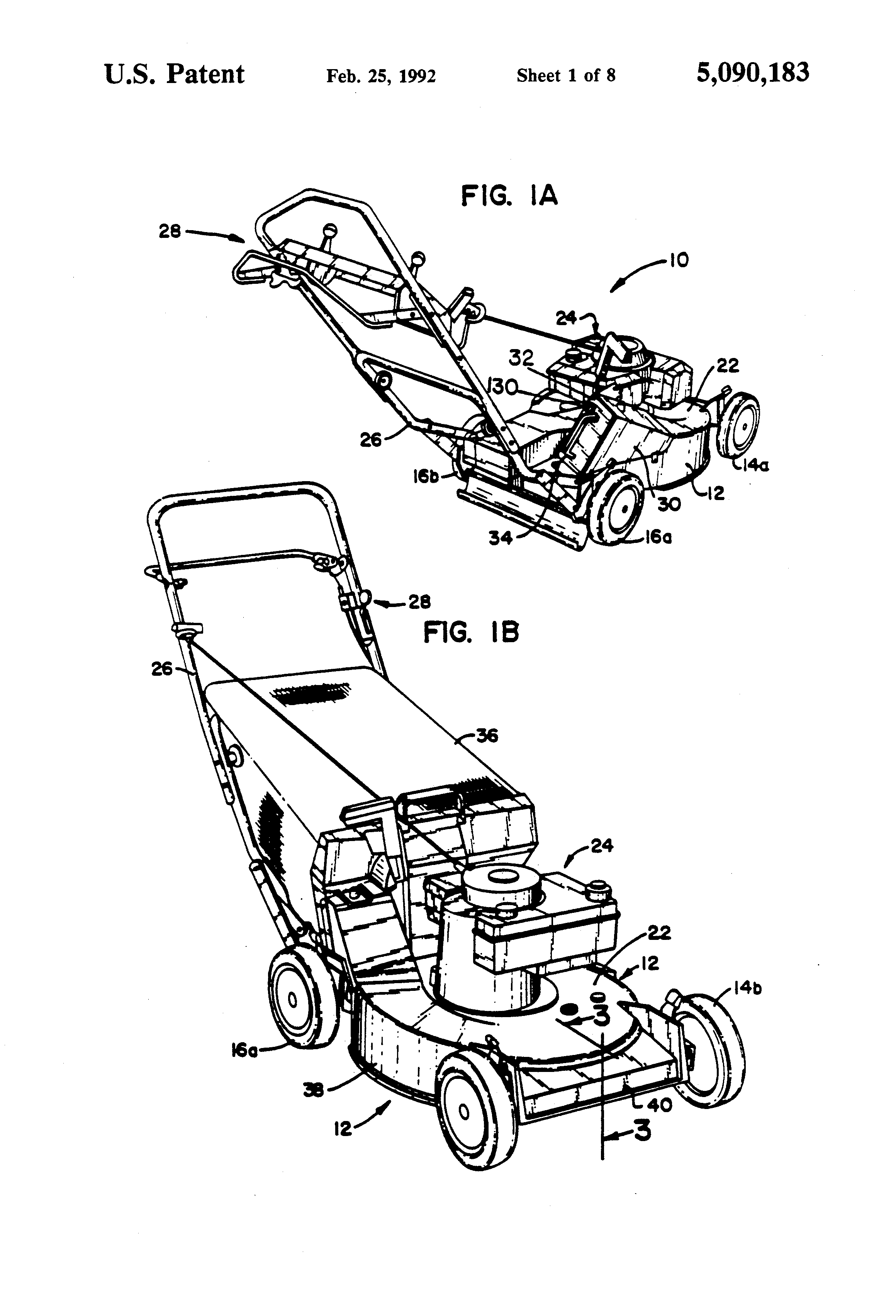 lawnmower drawing. patent drawing lawnmower