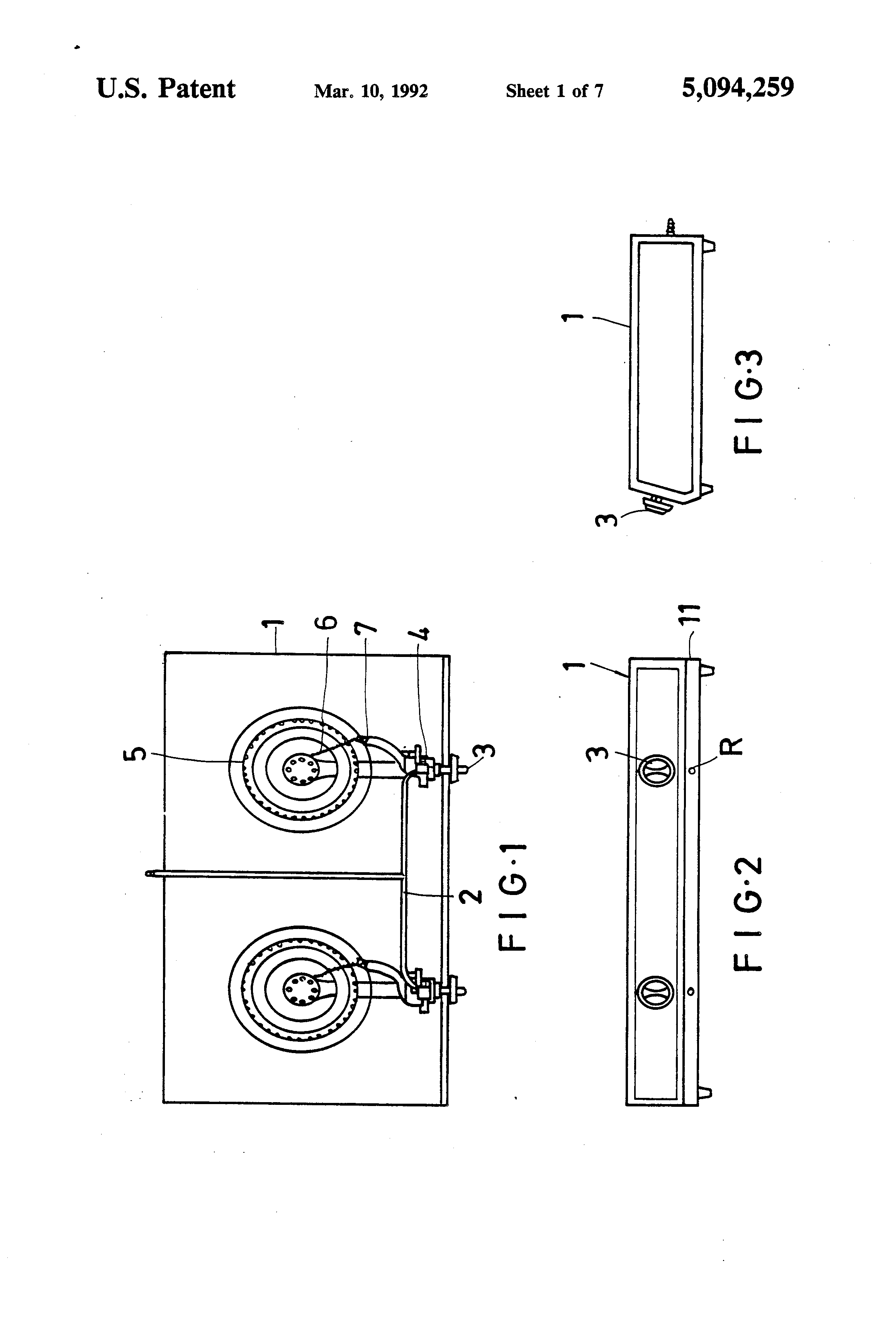 patent us5094259 - automatic shut-off safety device for gas stove