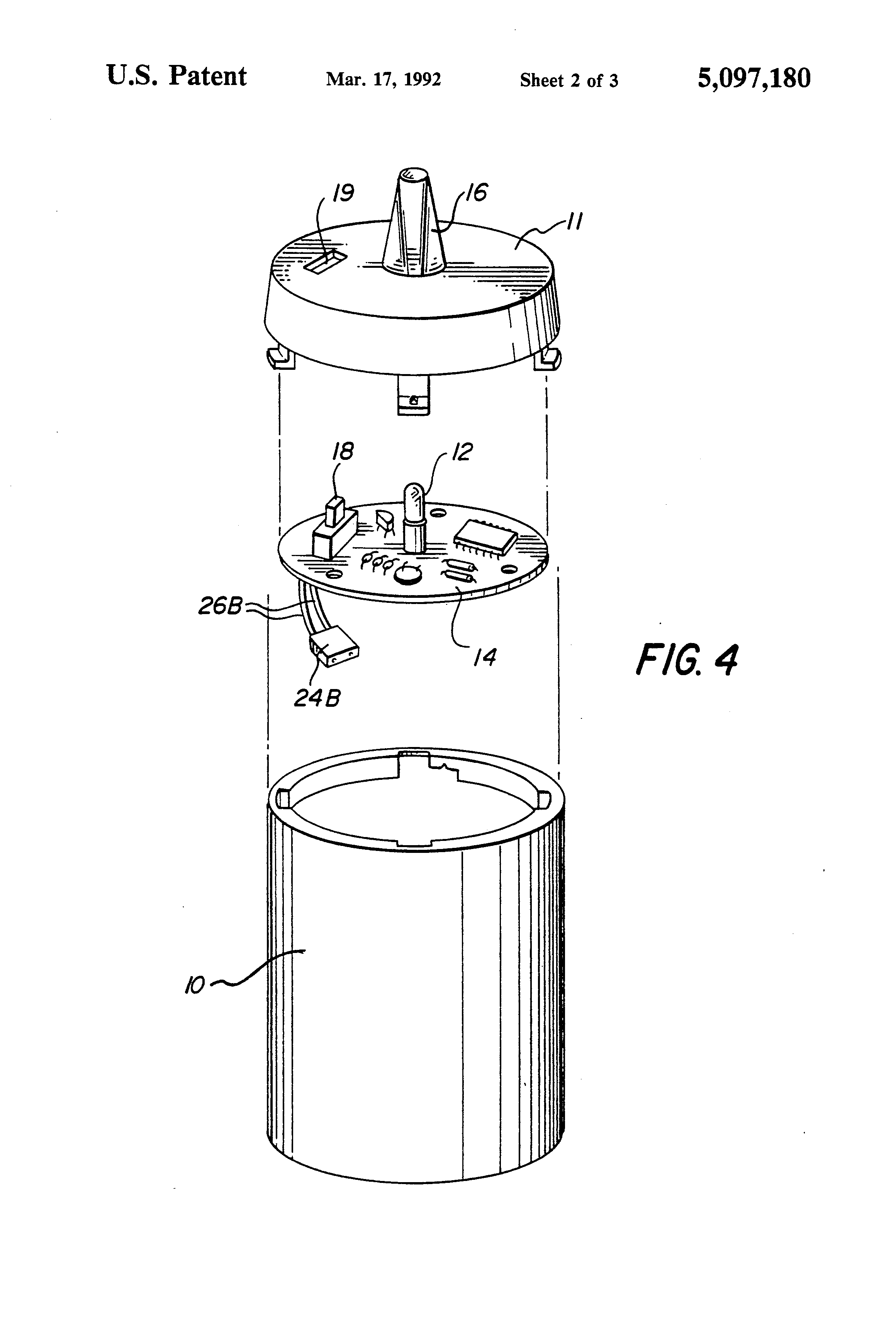 patent us5097180 - flickering candle lamp
