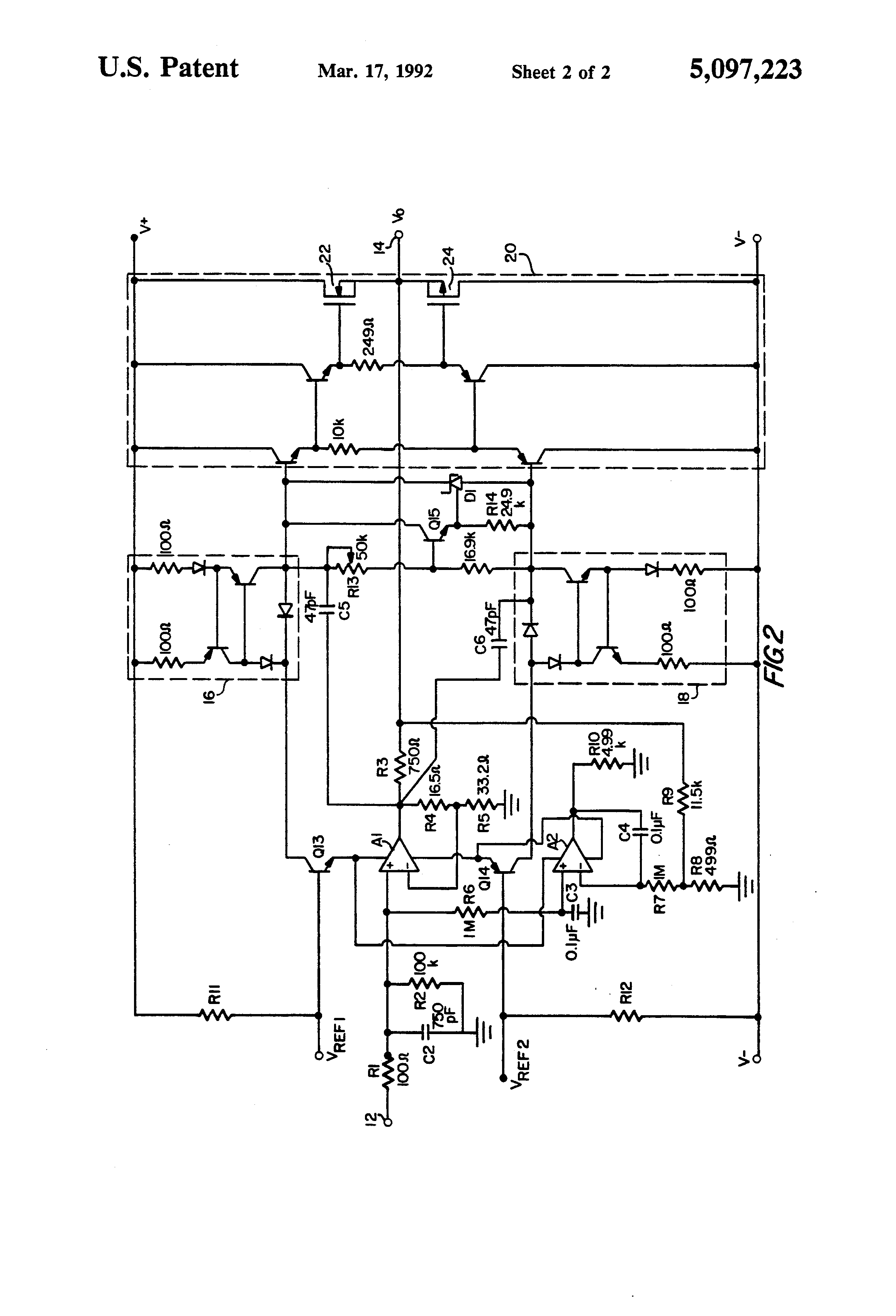patent us5097223 - current feedback audio power amplifier